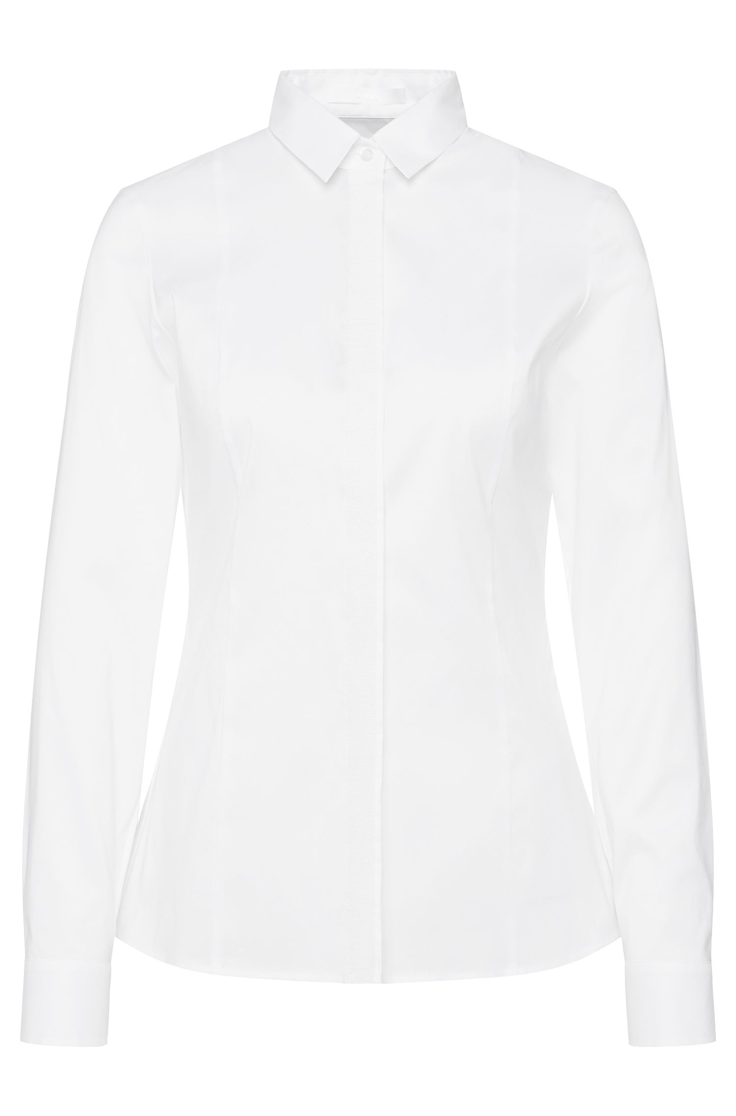 Waisted-fit blouse in cotton blend with a concealed button placket: 'Biesa'