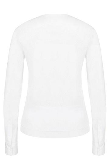 Straight-Fit Bluse mit Saum in Lagen-Optik: 'Bjarna', Weiß
