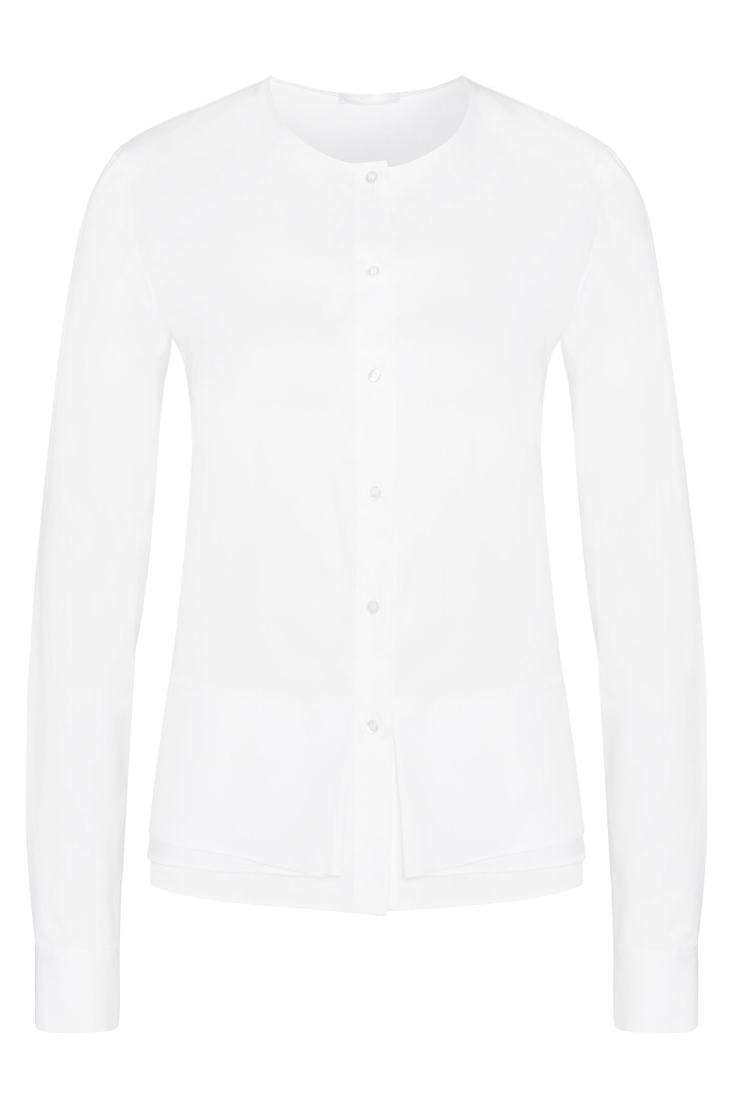 Straight-fit blouse met zoom in laagjeslook: 'Bjarna'