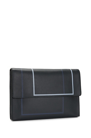 Aktentasche aus Leder mit grafischem Print: 'Miro SH 16PF_Folio', Dunkelblau
