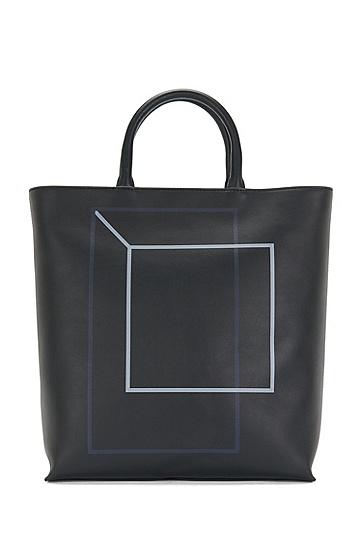 Leather shopper with graphic print: 'Miro SH 16PF_Tote', Dark Blue