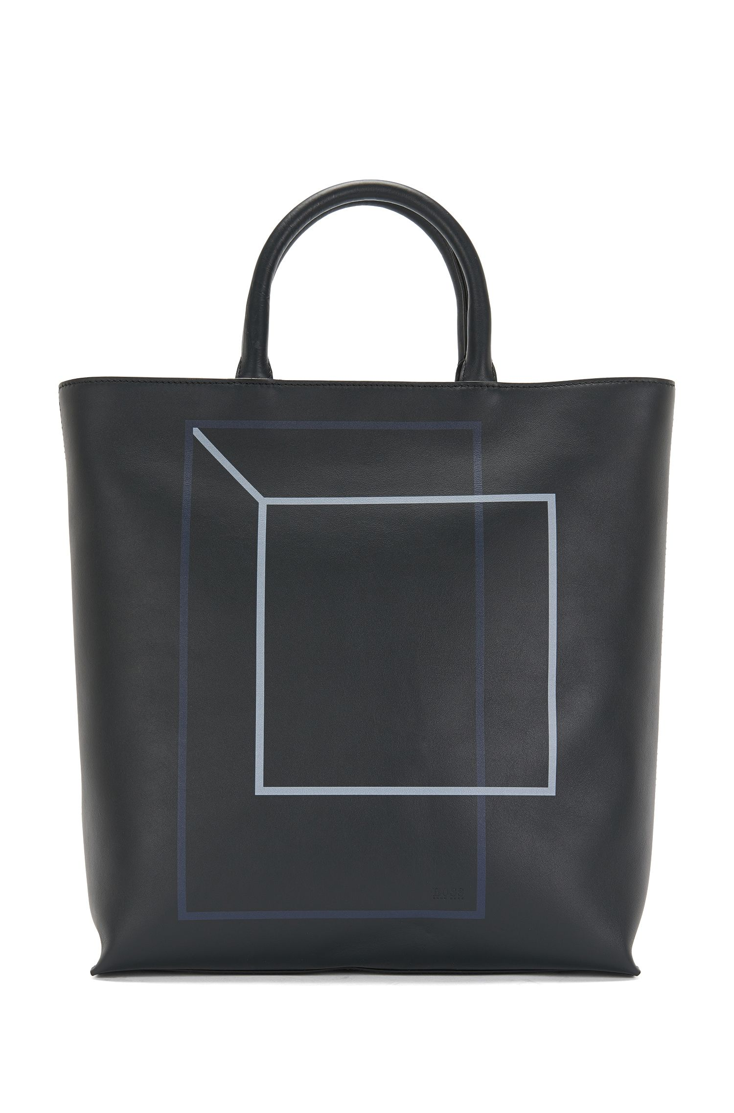 Leather shopper with graphic print: 'Miro SH 16PF_Tote'
