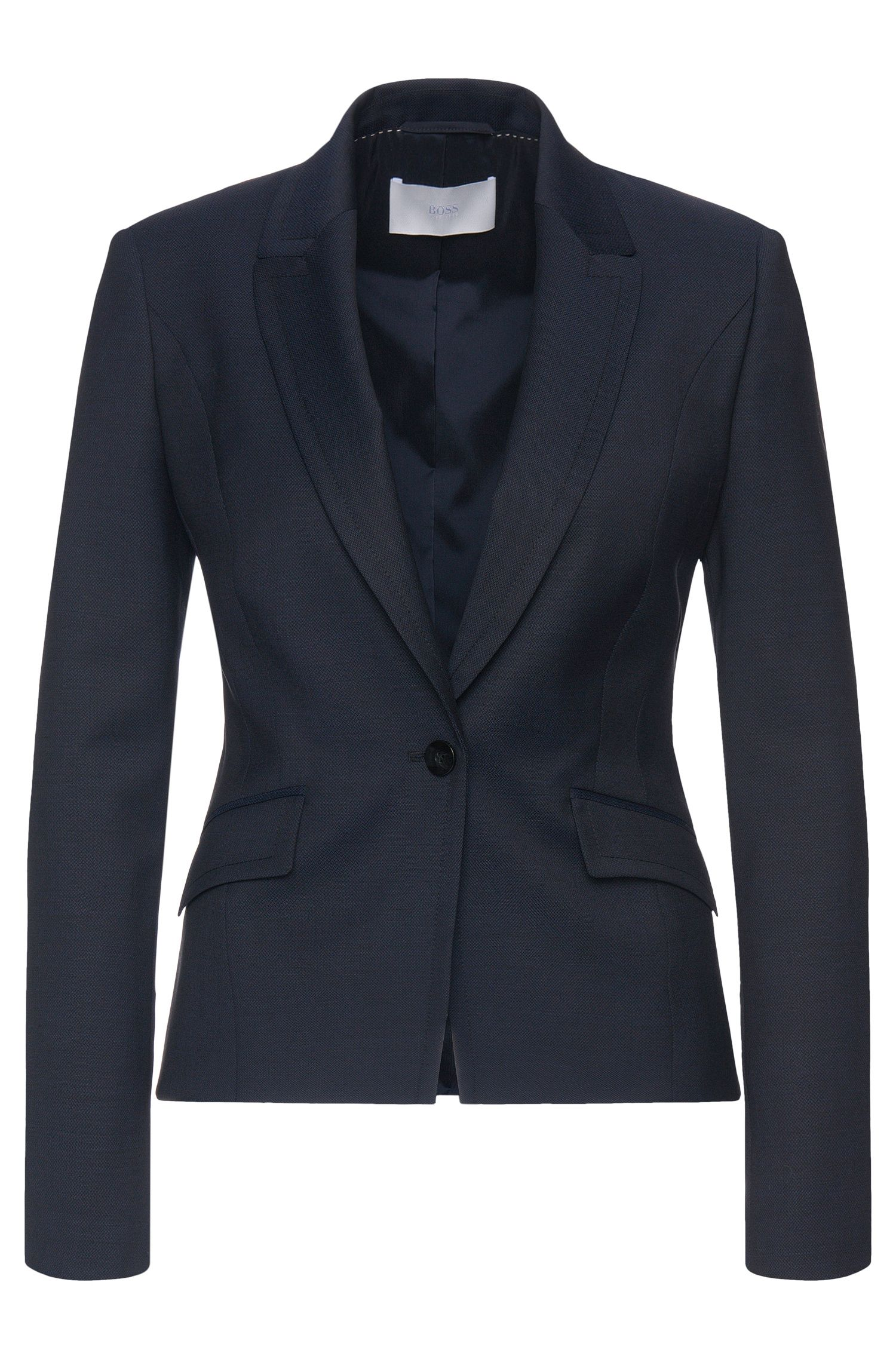 Blazer in pure new wool with diagonal flap pockets: 'Jobina'