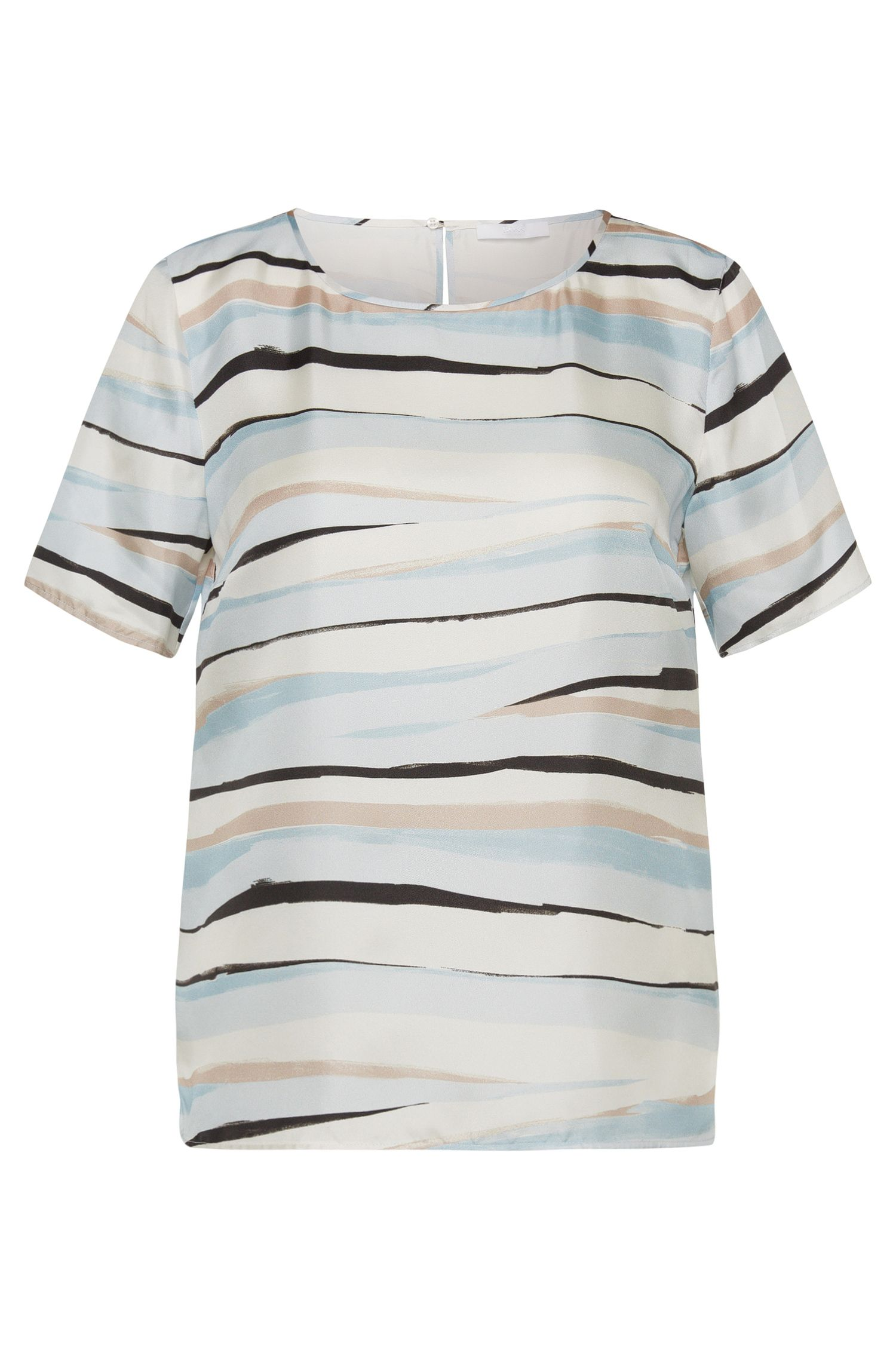 Striped top in pure silk: 'Ipinta'