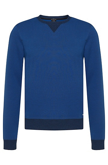 Slim-Fit Sweatshirt aus Baumwoll-Mix mit gestreiften Abschlüssen: 'Skubic10', Blau