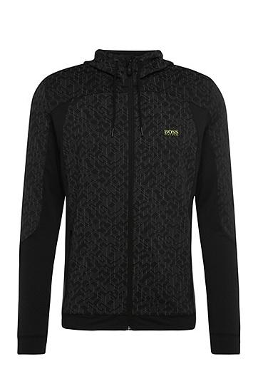 Regular-Fit Sweatshirt-Jacke aus Material-Mix: ´Saggytech`, Schwarz