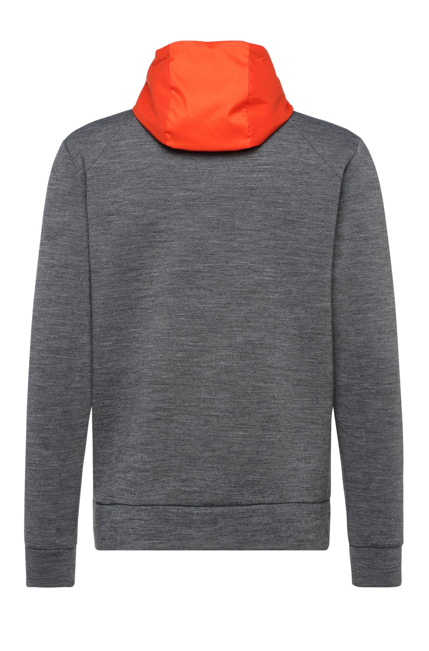 Melierte Sweatshirt-Jacke aus Jersey mit Kapuze: ´Sawotech`