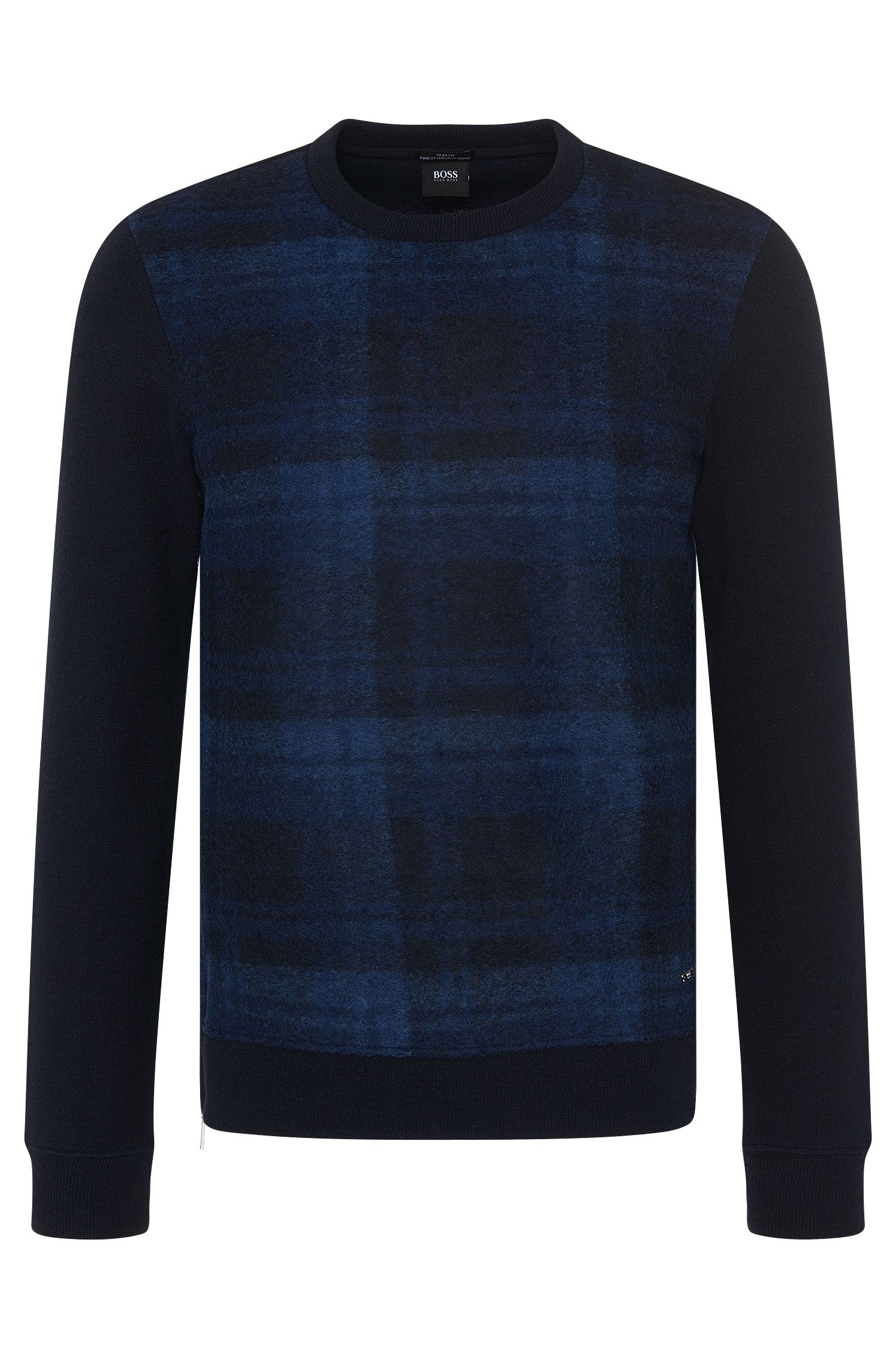 Slim-fit sweater in wool blend with checked front side: 'Skubic 11'