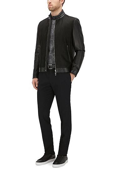 Slim-Fit Poloshirt aus Baumwolle mit Allover-Muster: 'Phillipson 04', Anthrazit