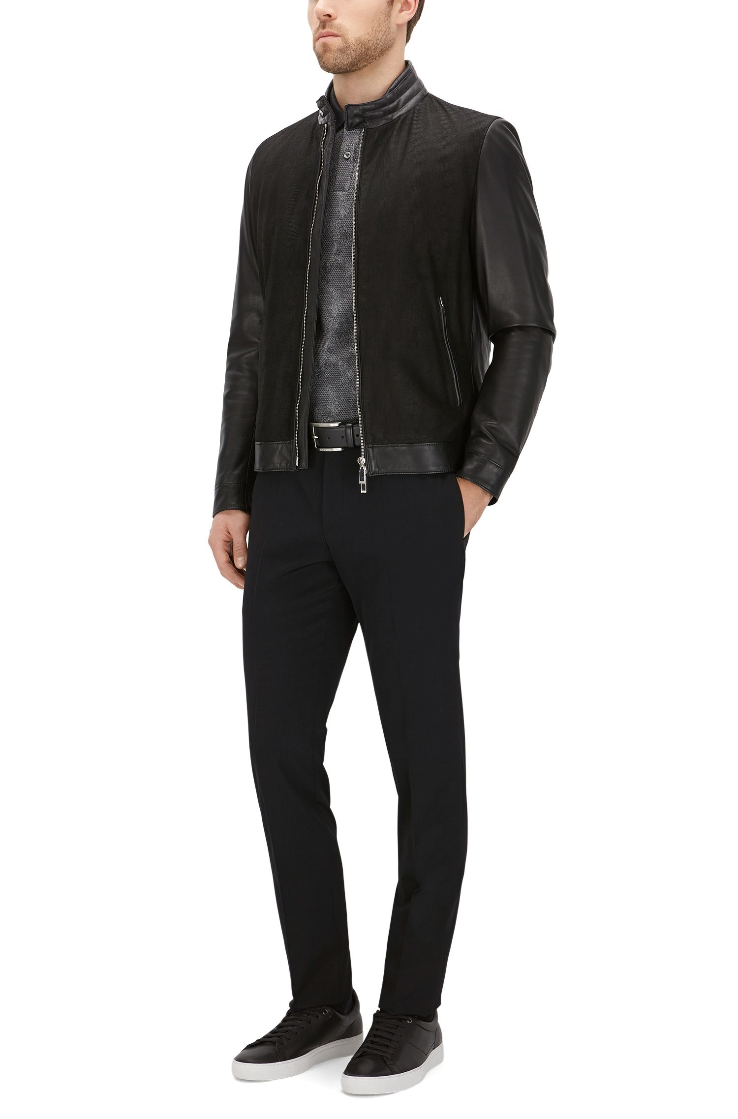 Slim-Fit Poloshirt aus Baumwolle mit Allover-Muster: 'Phillipson 04'