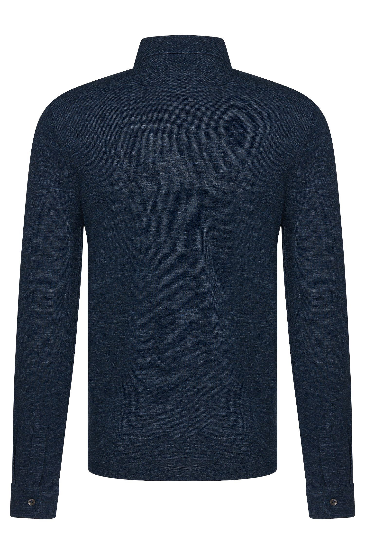 Regular-Fit Tailored Longsleeve-Polo aus Woll-Mix mit Baumwolle: 'T-Morrison 07'