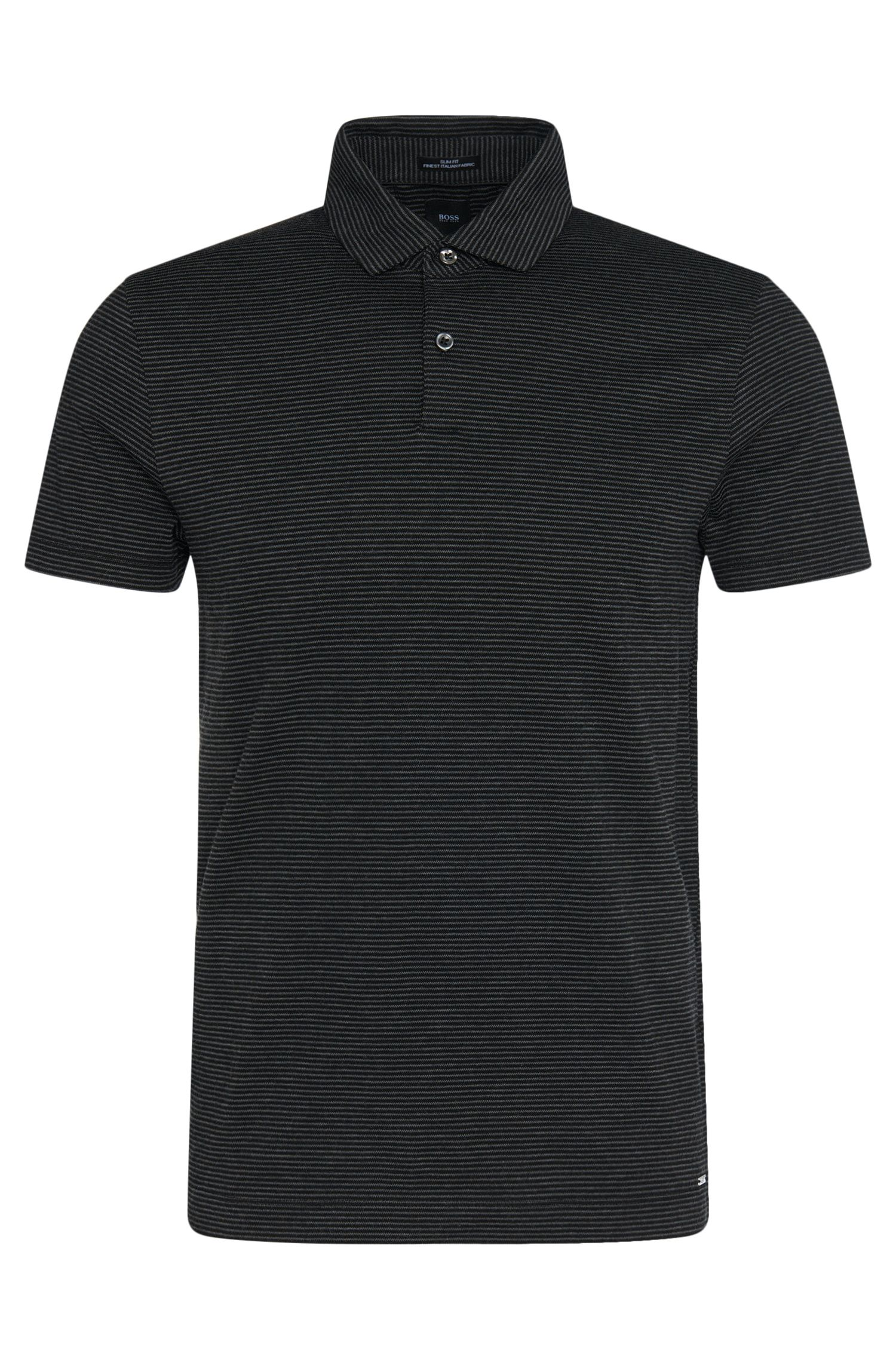 Polo Slim Fit Tailored en coton mélangé à teneur en cachemire : « T-Pryde 20 »