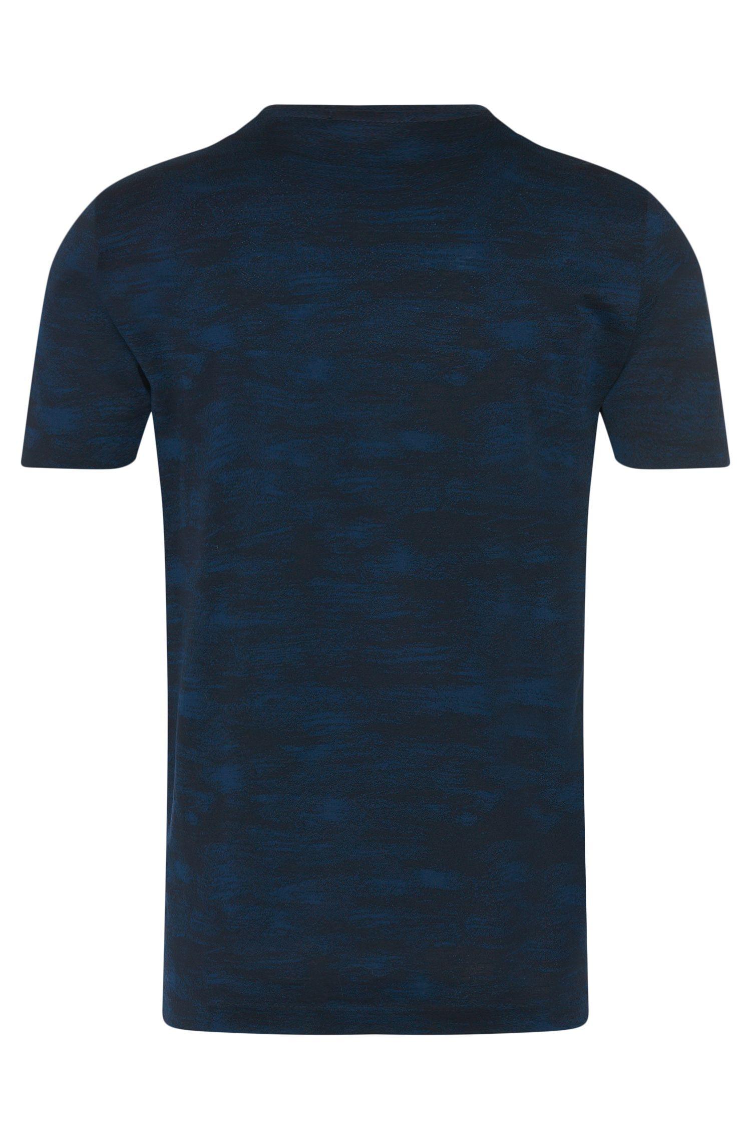 Regular-fit T-shirt van katoen in tweekleurig dessin: 'Tiburt 16'