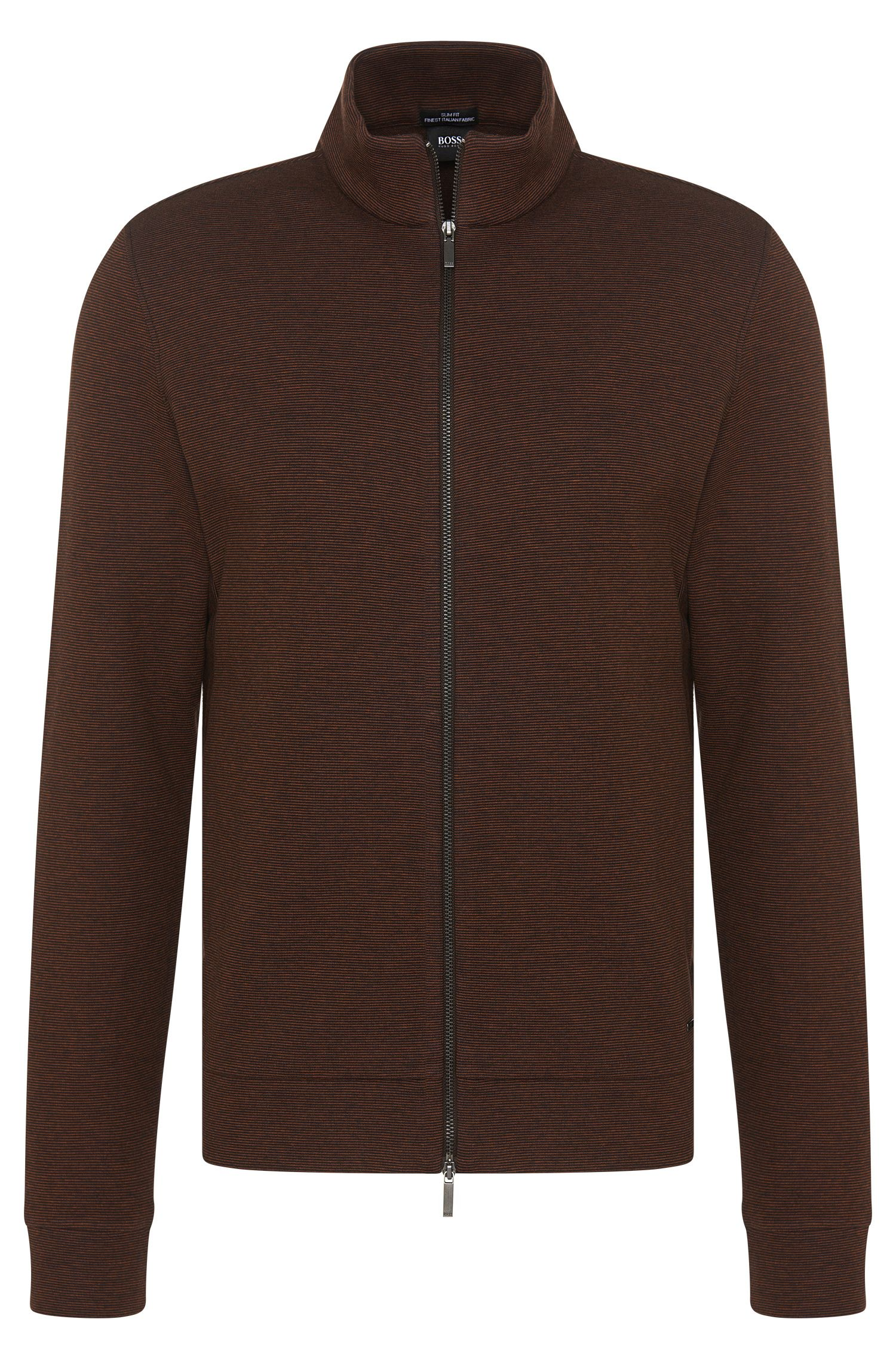Striped slim-fit sweatshirt jacket in cotton blend with wool: 'Saldun 01'