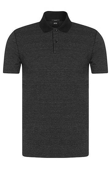 Slim-Fit Poloshirt aus Baumwoll-Mix: 'Plater 02', Schwarz