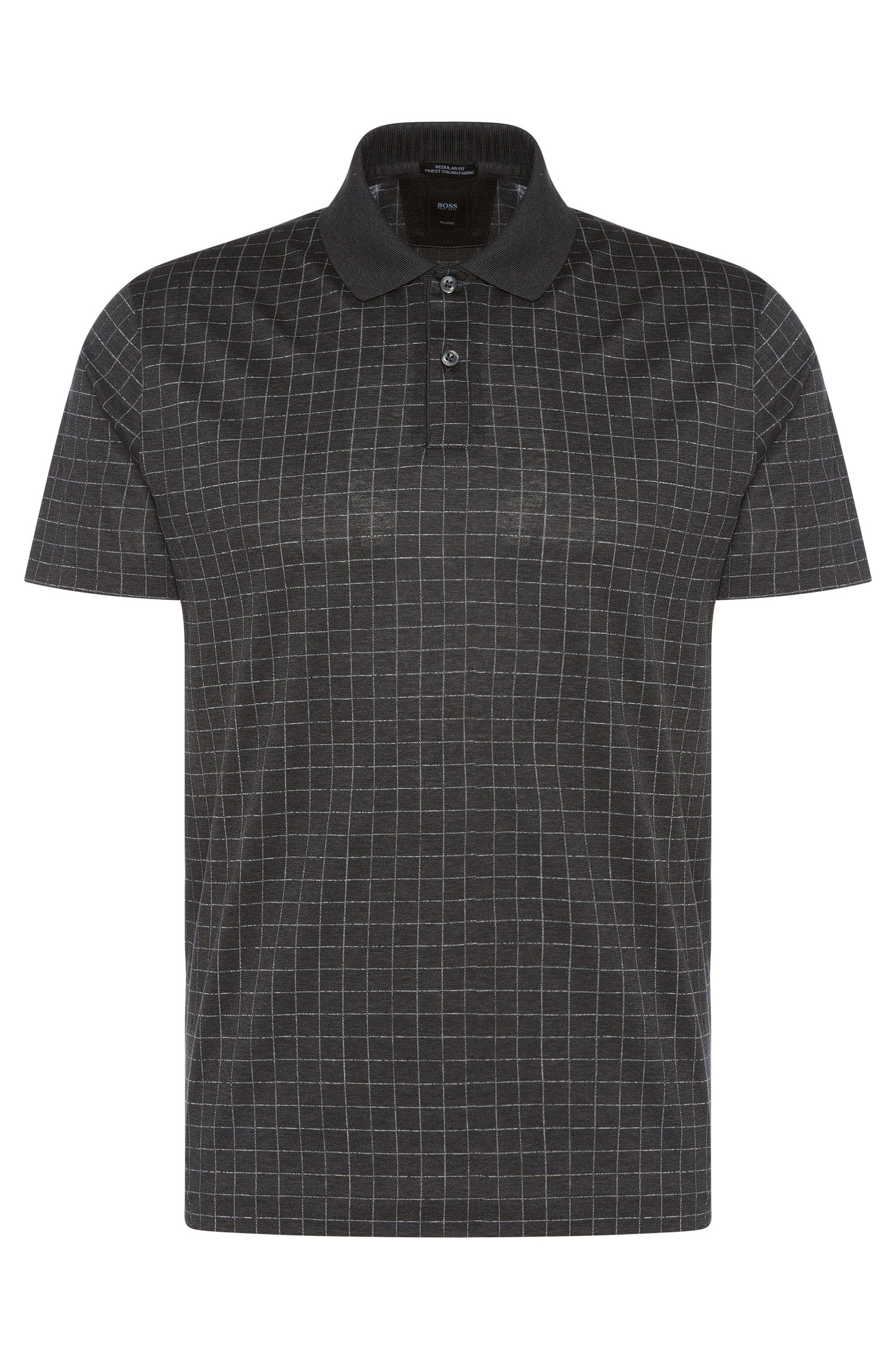 Maglietta stile polo Tailored regular fit in cotone a scacchi: 'T-Perry 07'