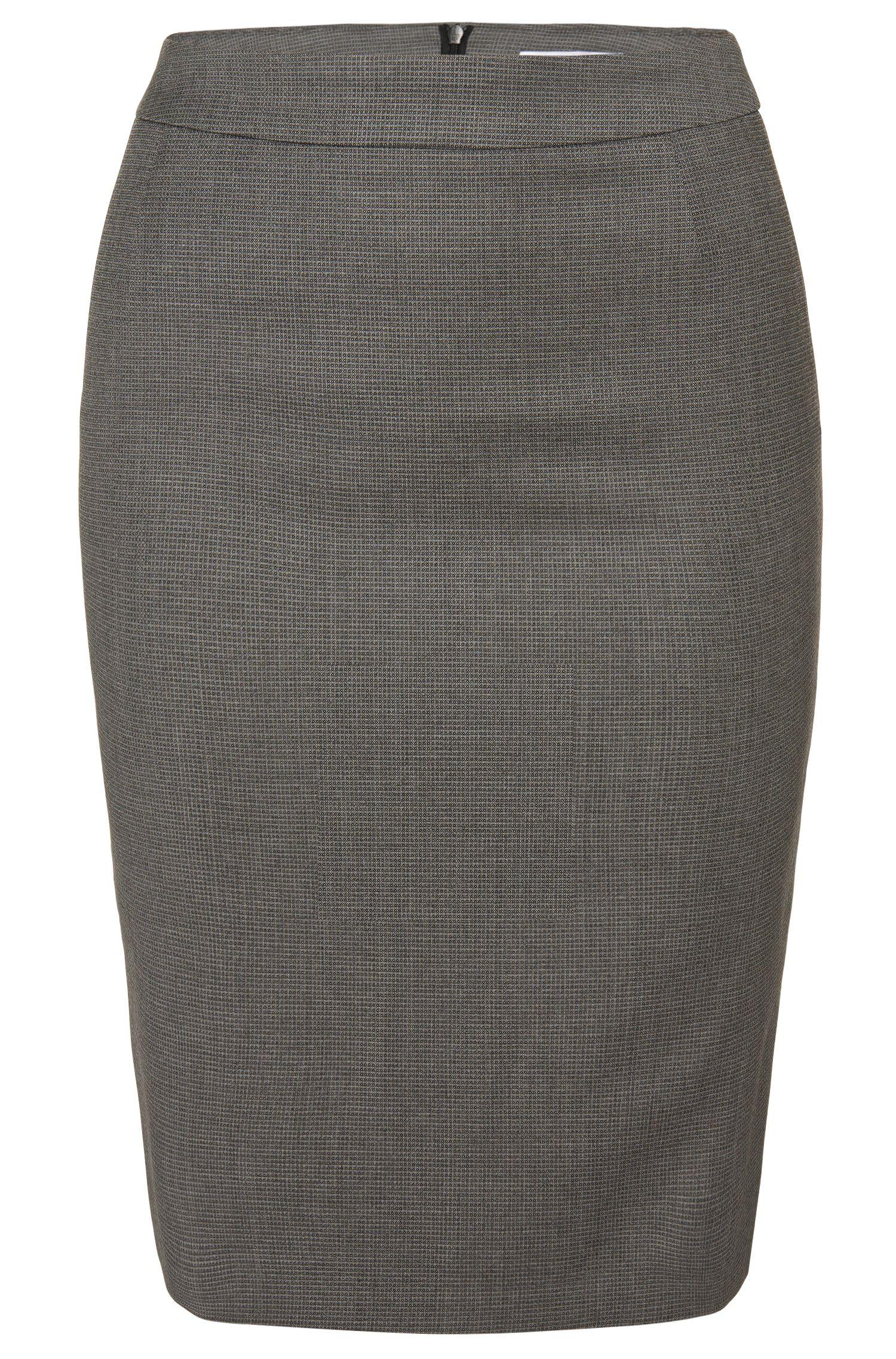Falda lápiz en mezcla de lana virgen con un discreto estampado integral: 'Vaflink'