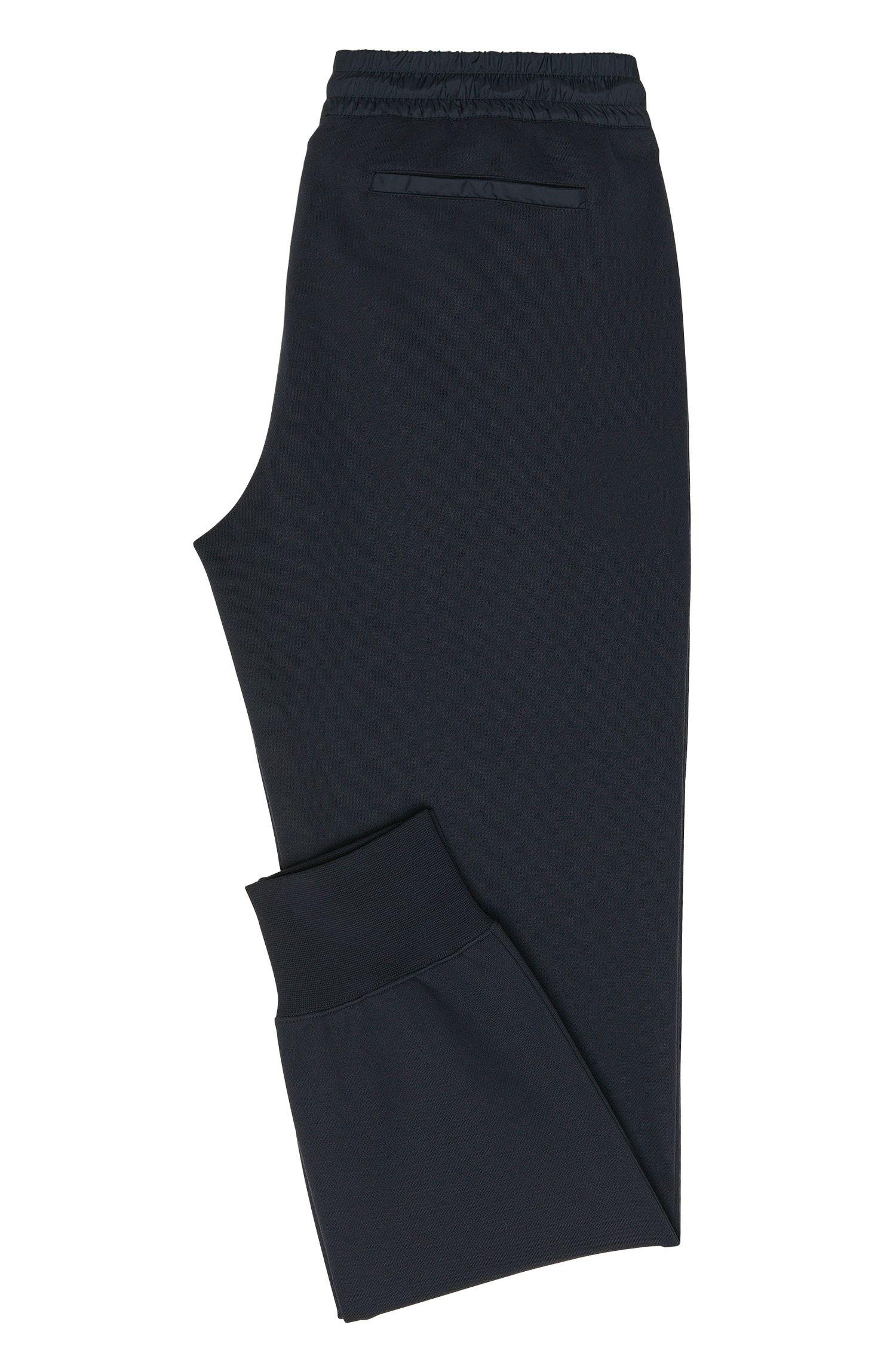 Pantalon sweat Regular Fit en coton mélangé à empiècement en tissu: «Lamont02»
