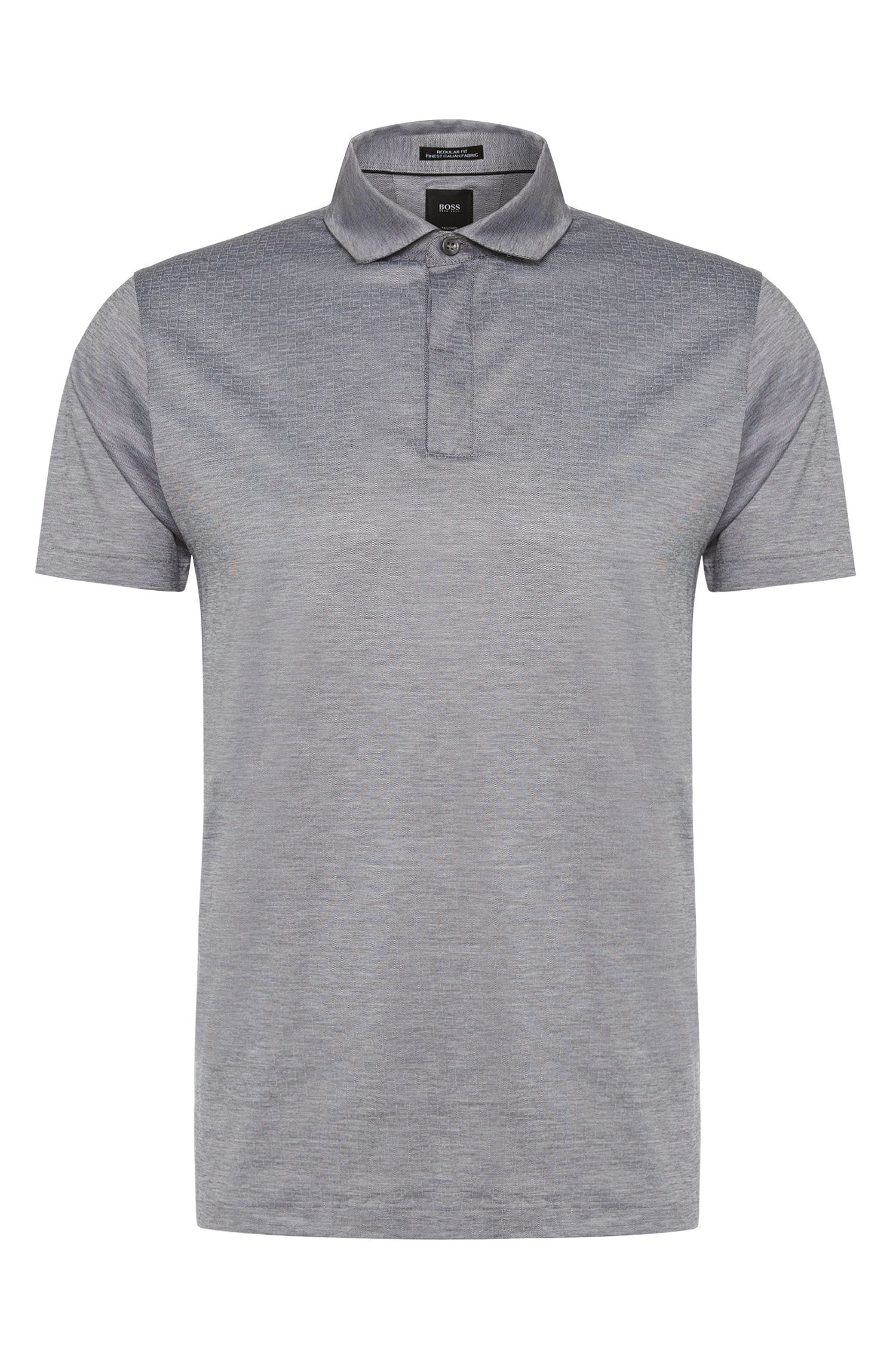 Meliertes Regular-Fit Tailored Poloshirt aus Baumwolle: 'T-Perkins 06'