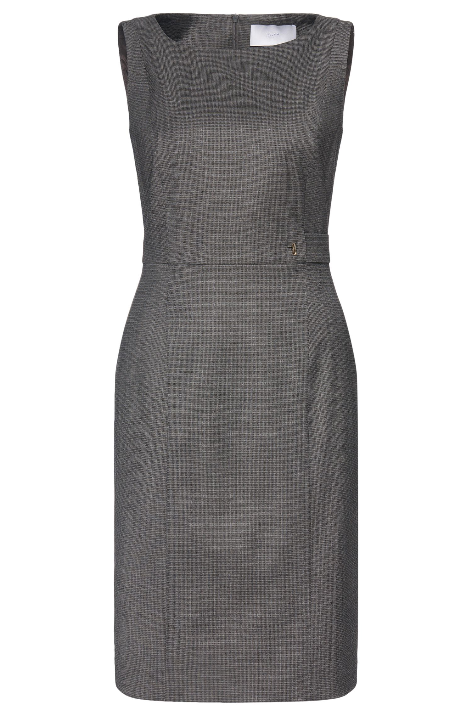 Dress in new-wool blend with strap element: 'Daflink'