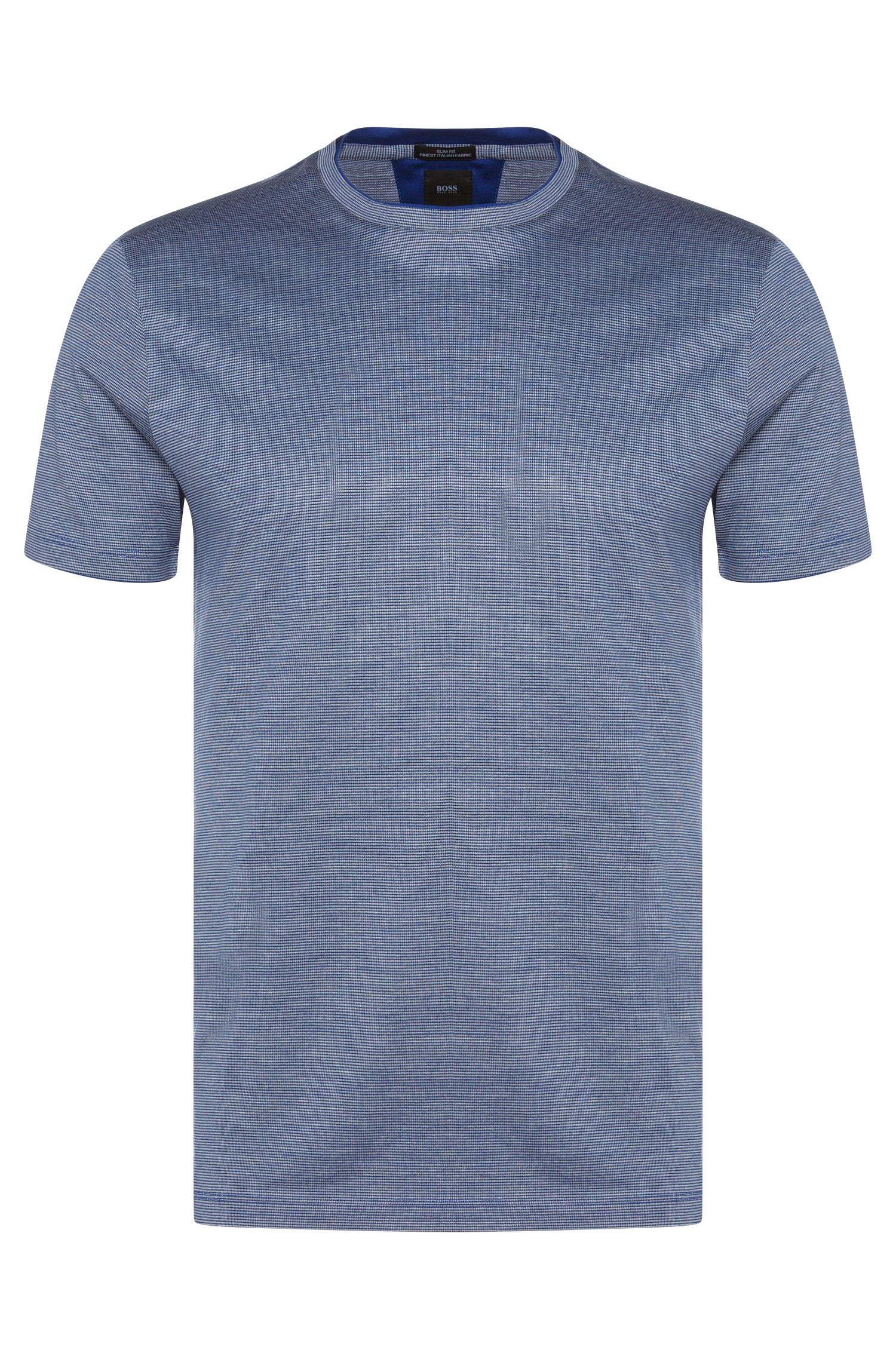 Gestreept slim-fit T-shirt van een zijdemix uit de Tailored-collectie: 'T-Tribel 18'
