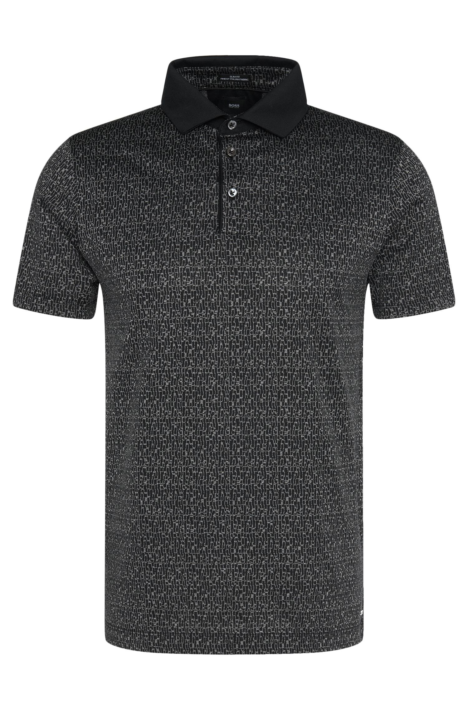 Gemustertes Slim-Fit Tailored Poloshirt aus Baumwolle: 'T-Pryde 22'