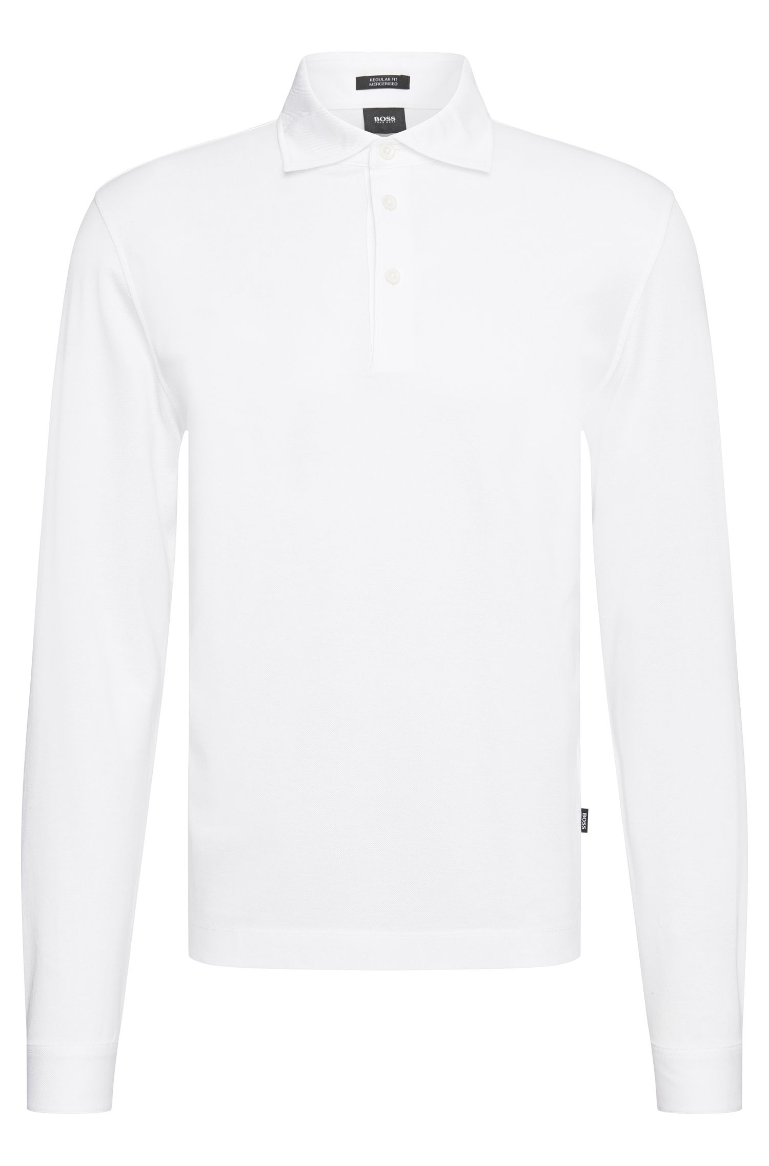 Regular-fit long-sleeved polo shirt in mercerised cotton: 'Pickell 05'