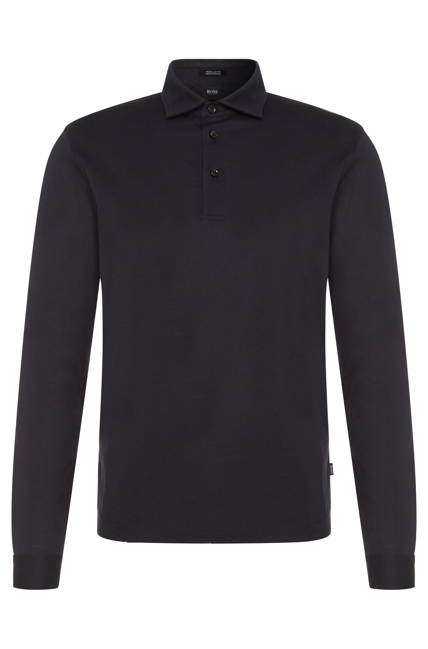 Regular-Fit Longsleeve-Poloshirt aus merzerisierter Baumwolle: 'Pickell 05'