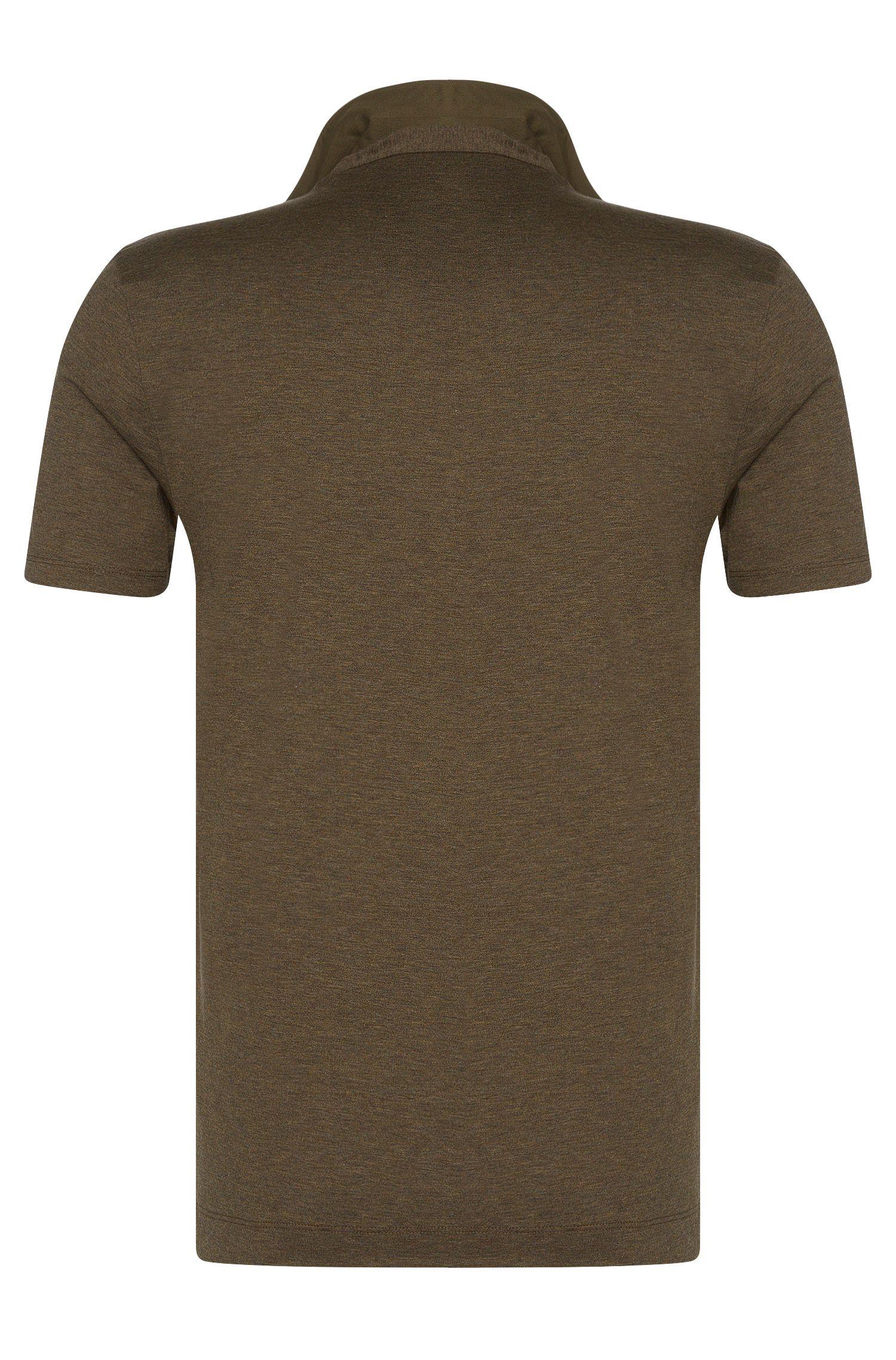 Meliertes Slim-Fit Poloshirt aus Baumwoll-Mix mit Seide: 'Platt 02'