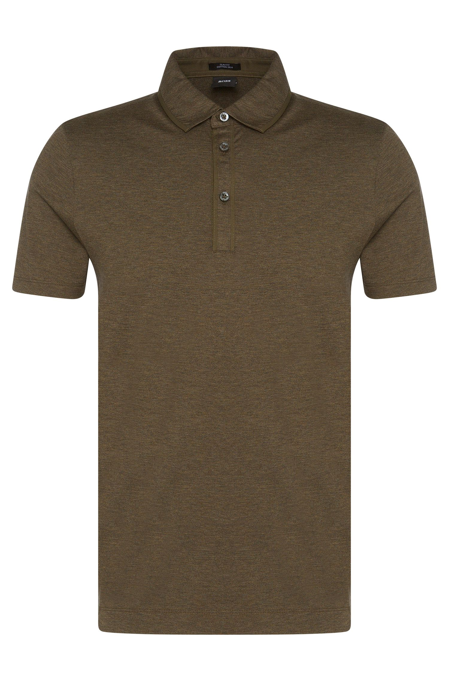 Mottled slim-fit polo shirt in cotton blend with silk: 'Platt 02'