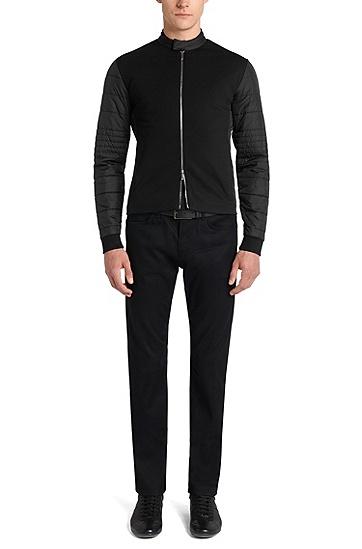 Leicht gefütterte Slim-Fit Sweatshirt-Jacke aus Baumwoll-Mix: 'Solari 01' aus der Mercedes Benz-Kollektion, Schwarz