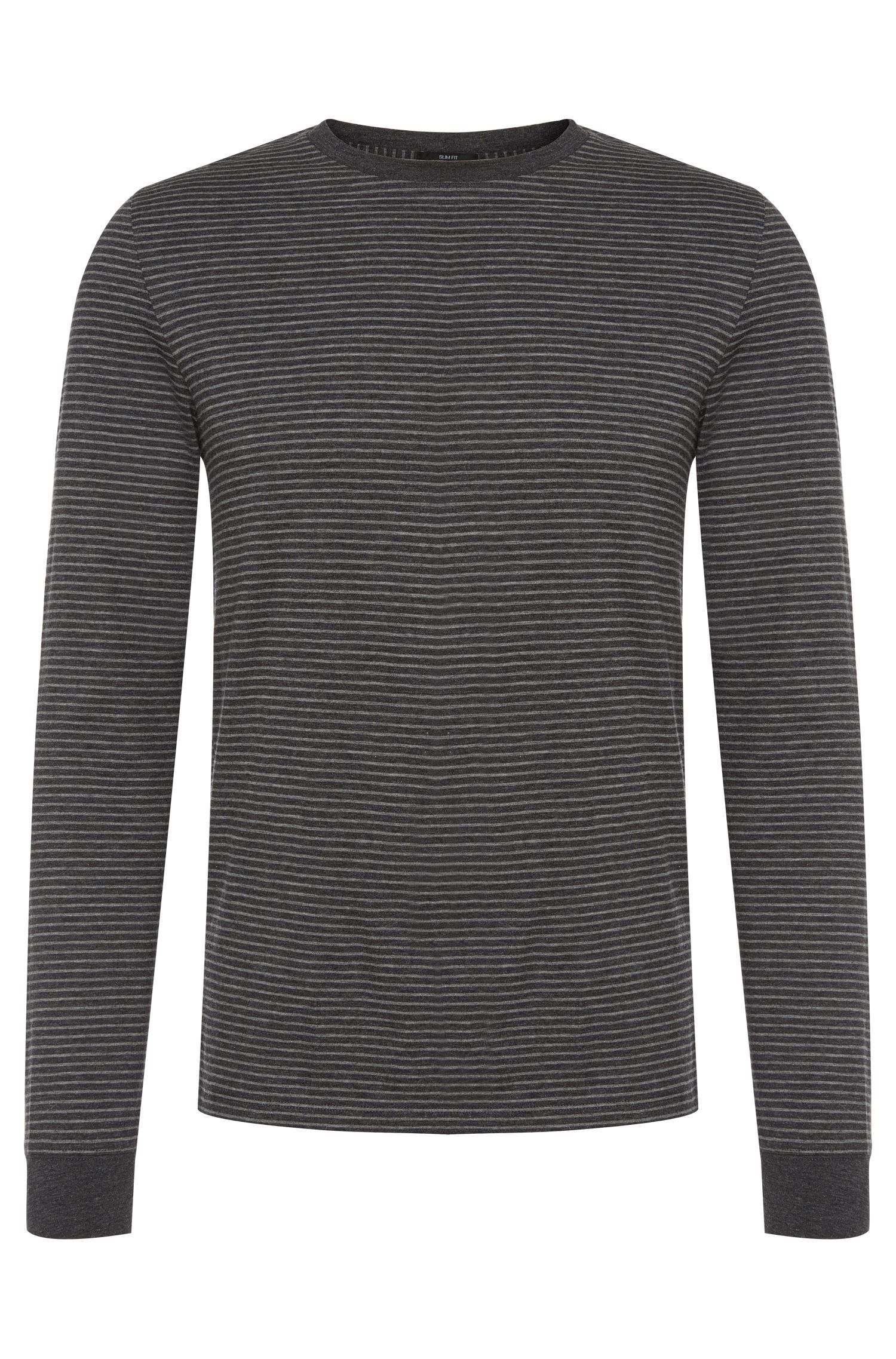 Striped slim-fit long-sleeved shirt in cotton blend: 'Tenison 04'
