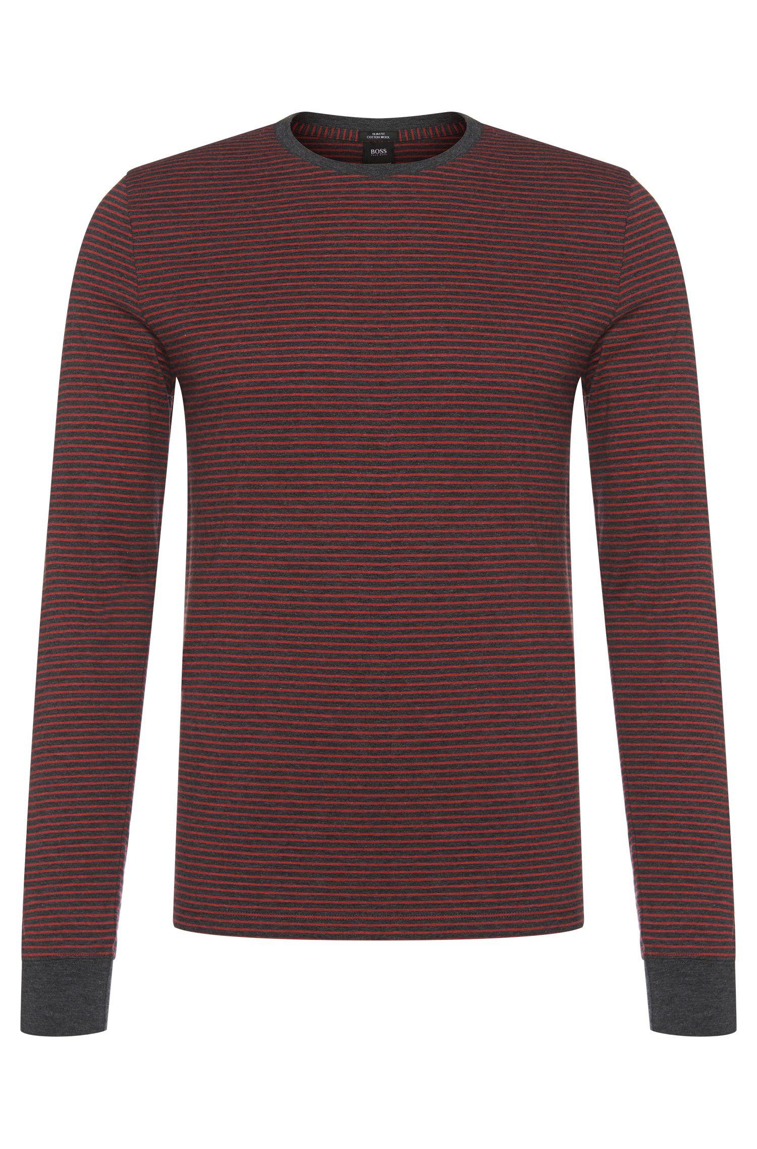 Gestreept slim-fit shirt met lange mouwen van BOSS van een katoenmix: 'Tenison 04'