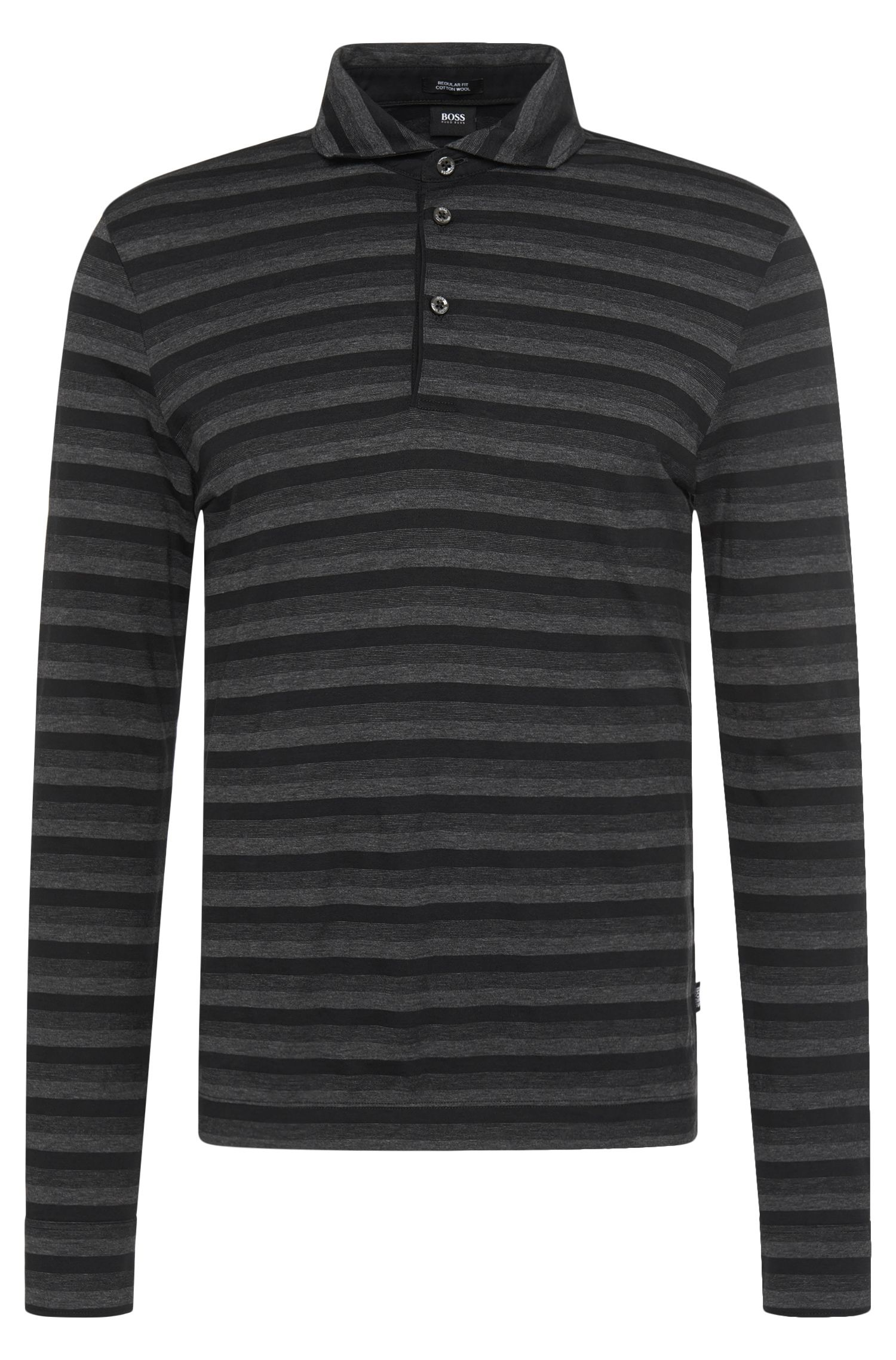 Gestreiftes Regular-Fit Longsleeve Polo aus Baumwoll-Mix mit Wolle: 'Pickell 04'