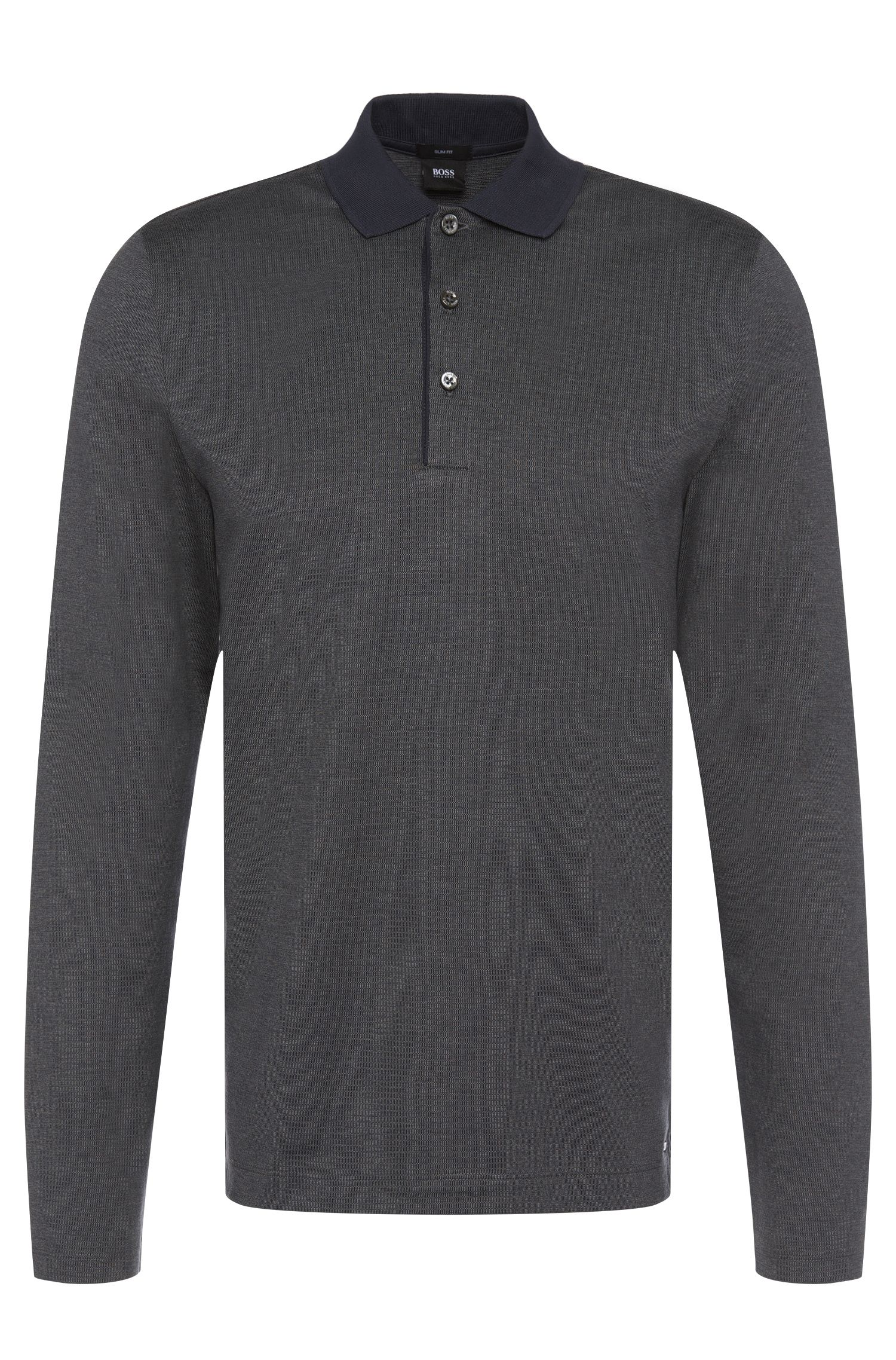 Polo a maniche lunghe slim fit in cotone: 'Paschal 01'