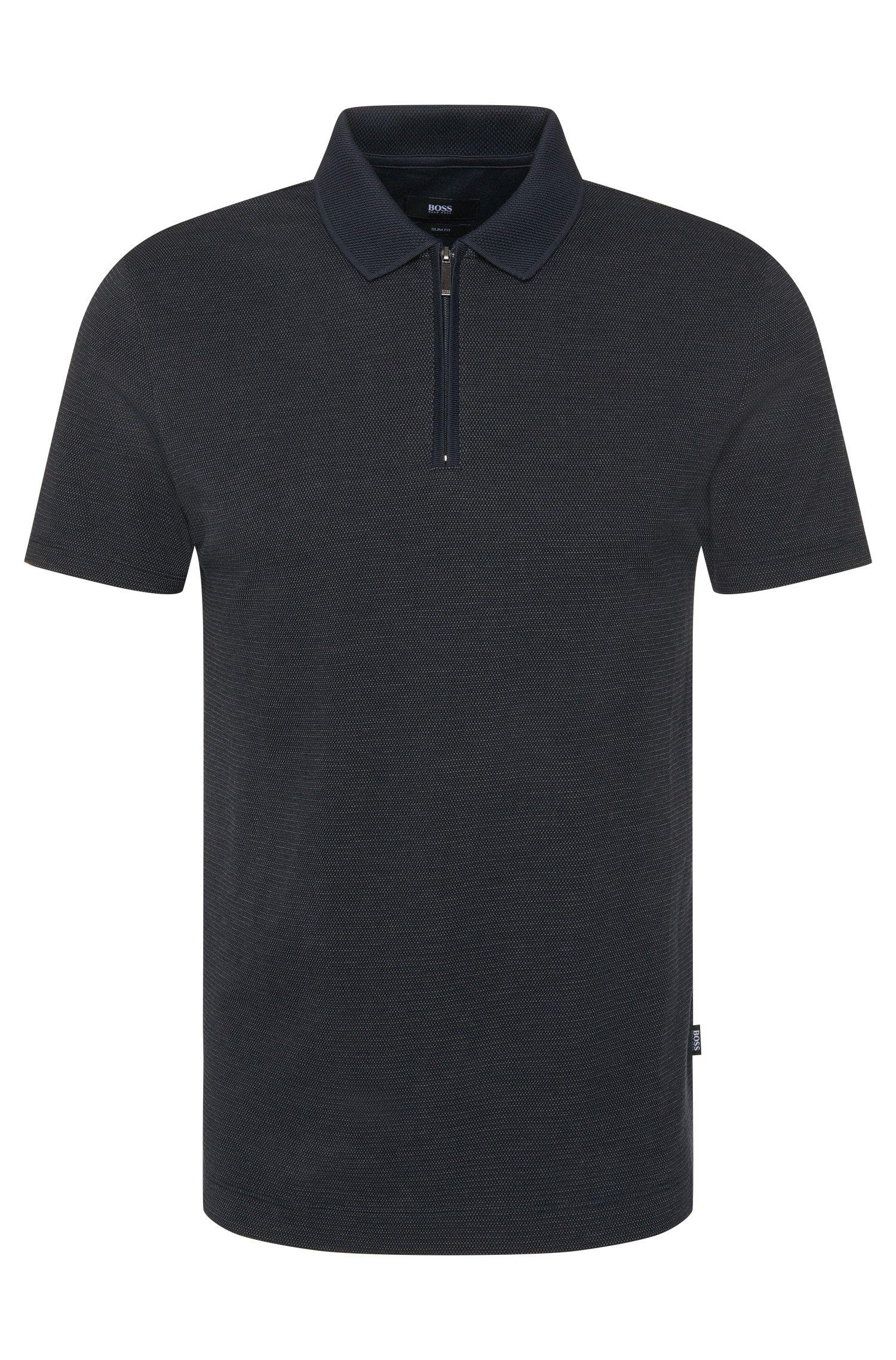 Slim-Fit Poloshirt aus Baumwolle mit Reißverschluss-Leiste: 'Polston2'