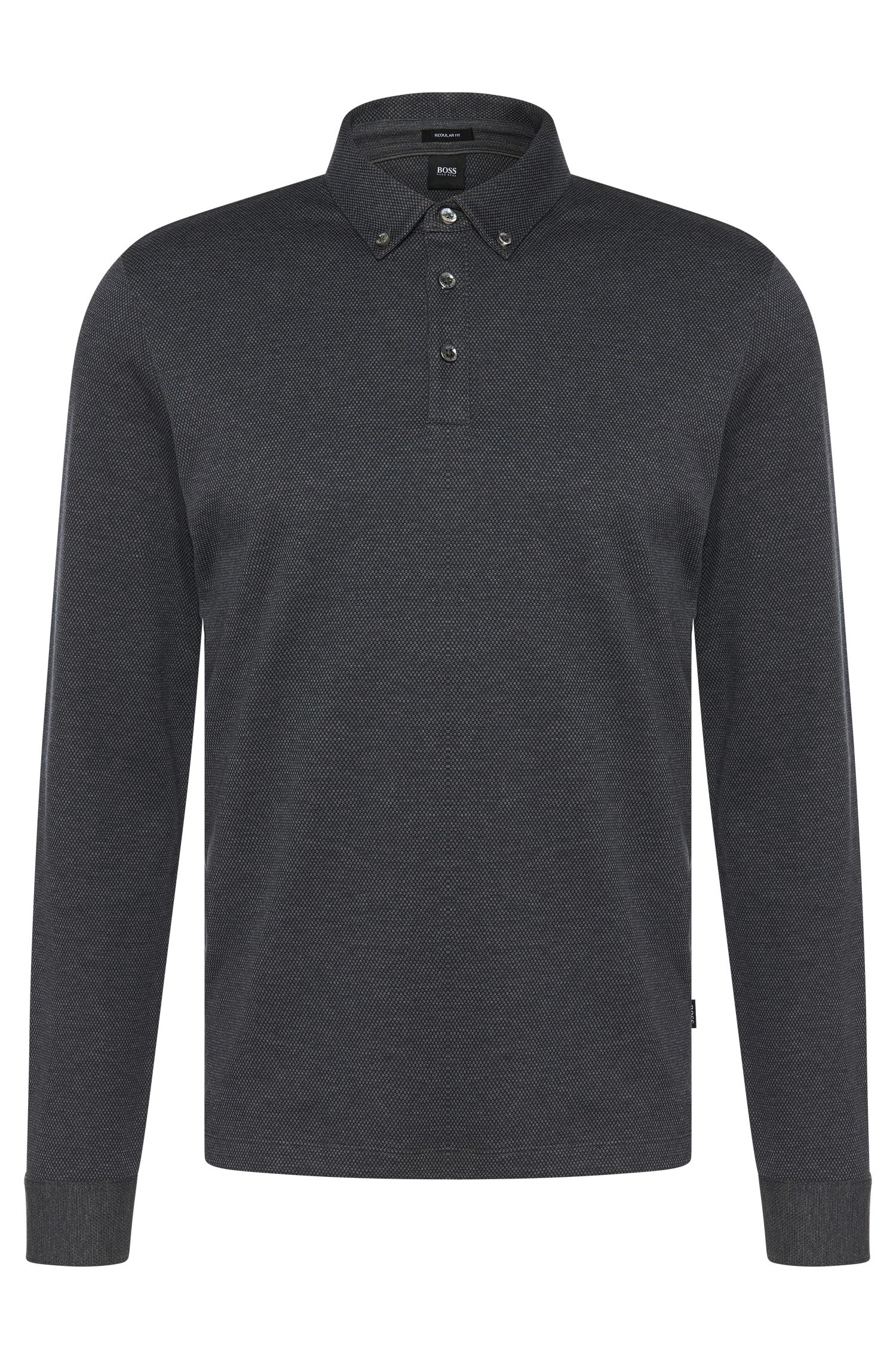 Regular-fit long-sleeved polo shirt in cotton: 'Pickell 03'