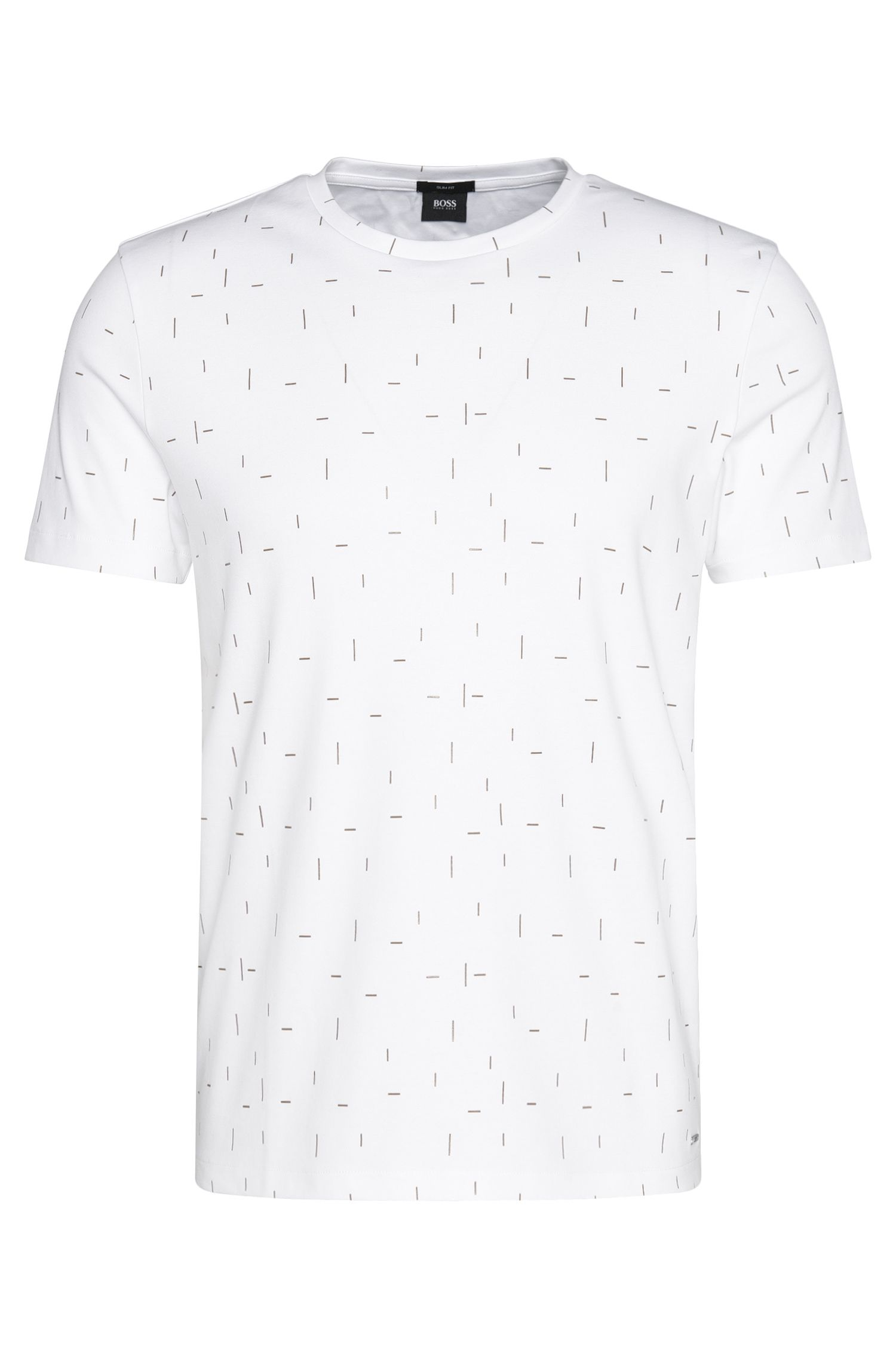 Slim-fit cotton t-shirt with linear print: 'Tessler 25'