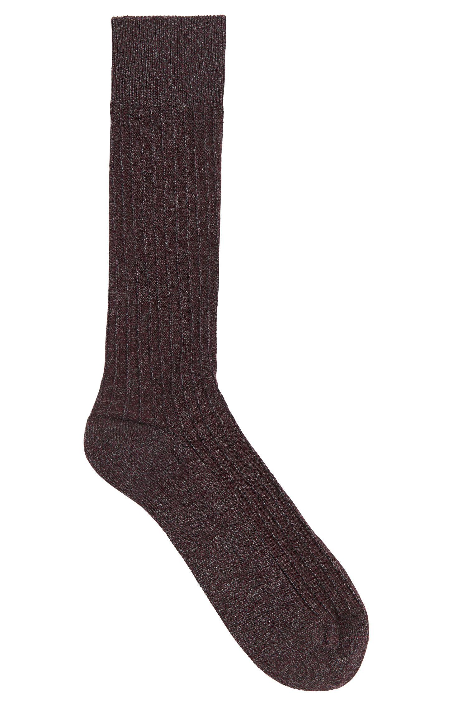 Chaussettes chinées en coton mélangé à motif structuré: «RS Design»