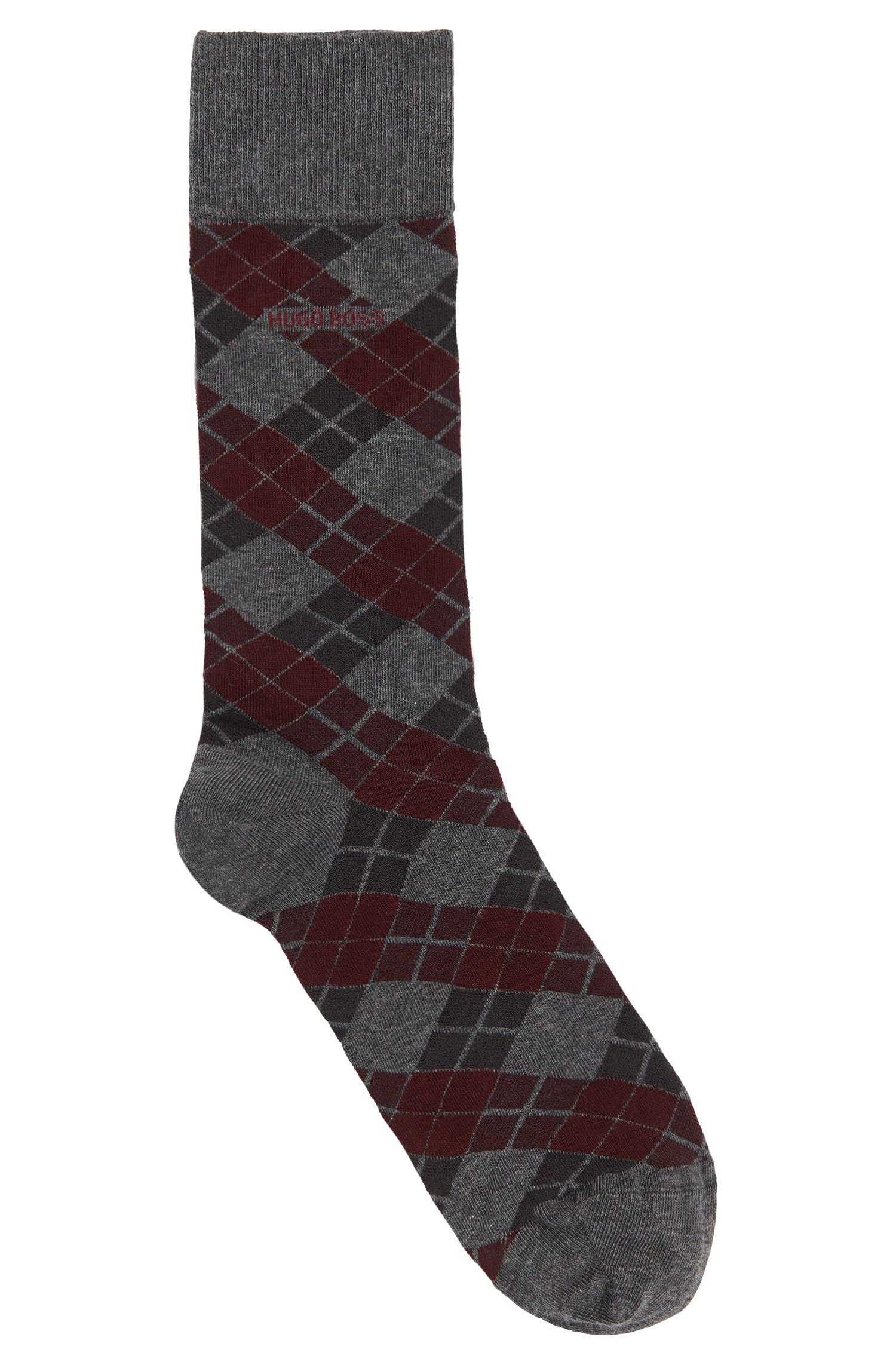 Socks in stretch cotton blend with Argyle pattern: 'RS Design'
