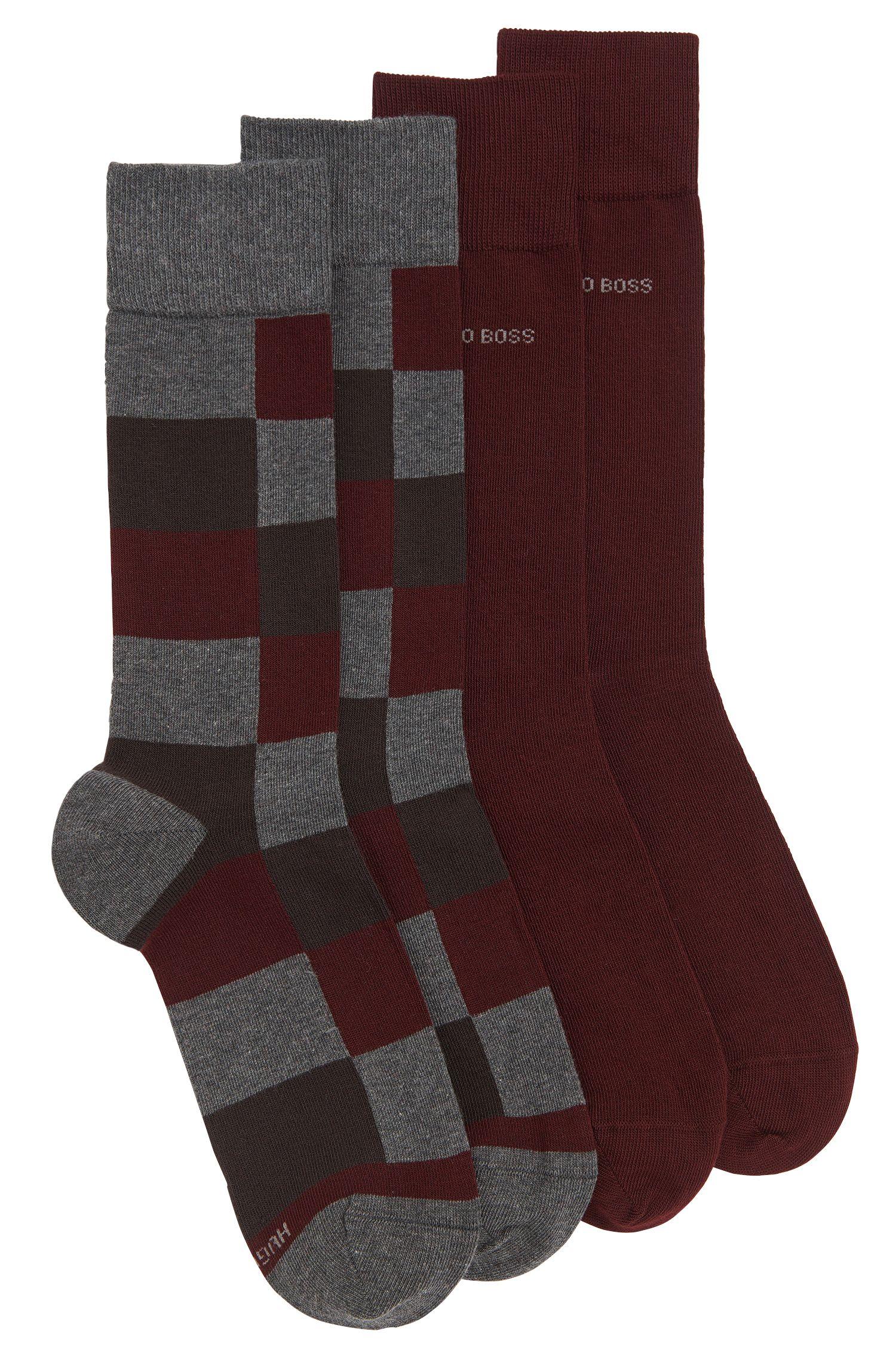 Effen sokken en sokken met dessin in een duopak: 'Twopack RS Design'