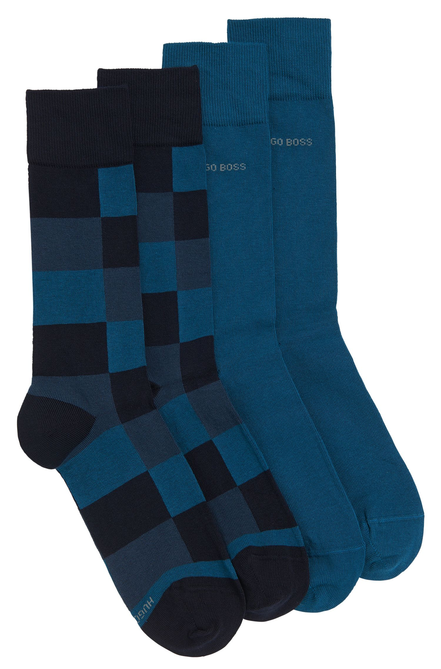 Patterned and solid-coloured socks in a double pack: 'Twopack RS Design'