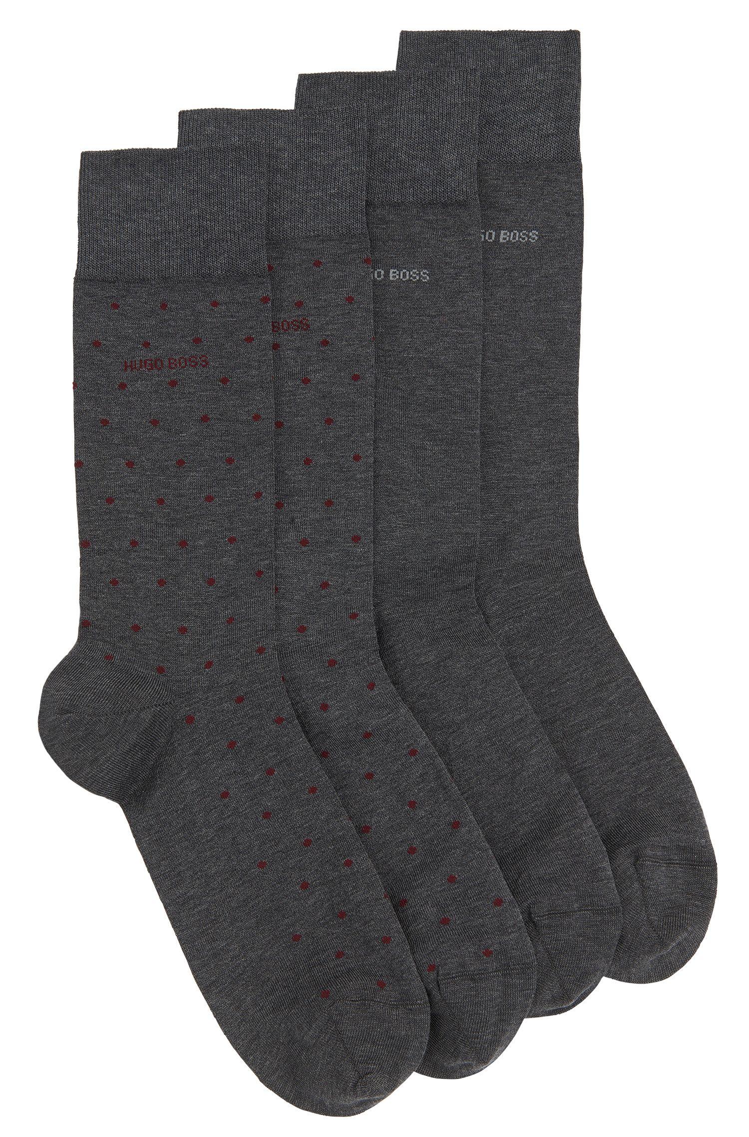 Set van twee paar gestippelde sokken van een katoenmix: 'Twopack RS Design'