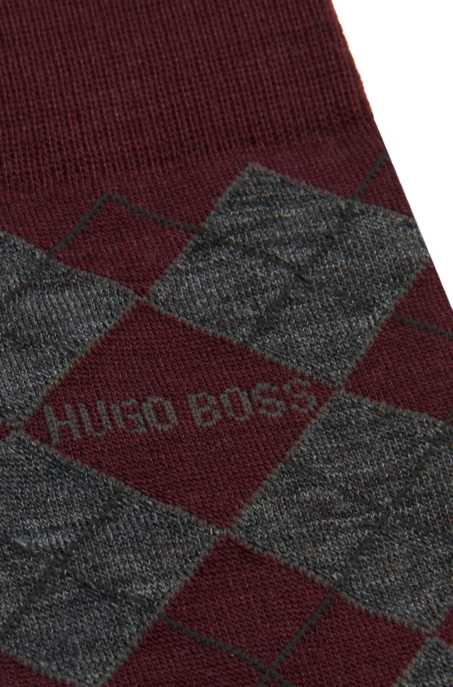 Sokken van een wolmix met ruitdessin: 'John Design'
