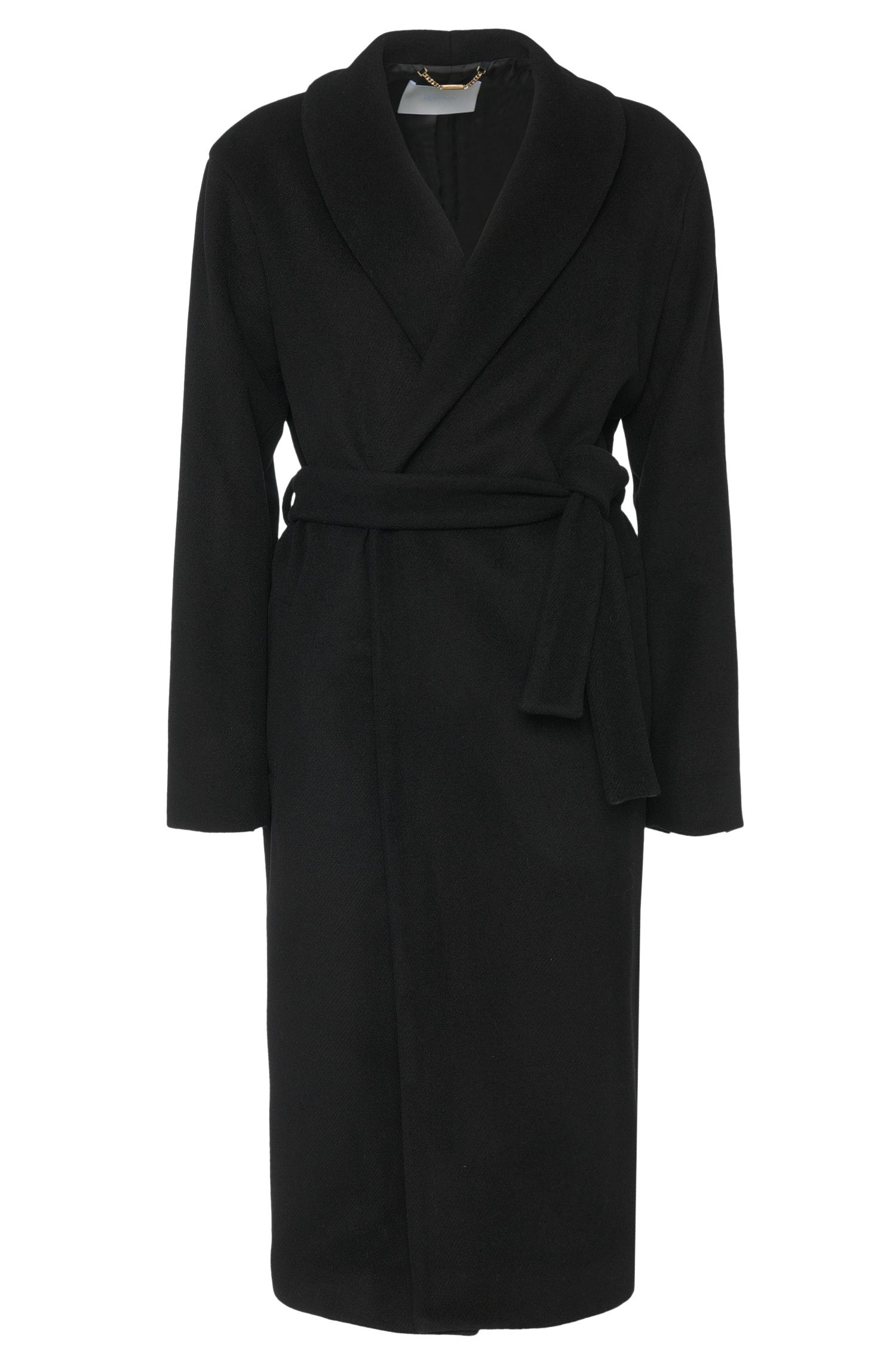 Coat in wool blend with wrap belt: 'Colleta'