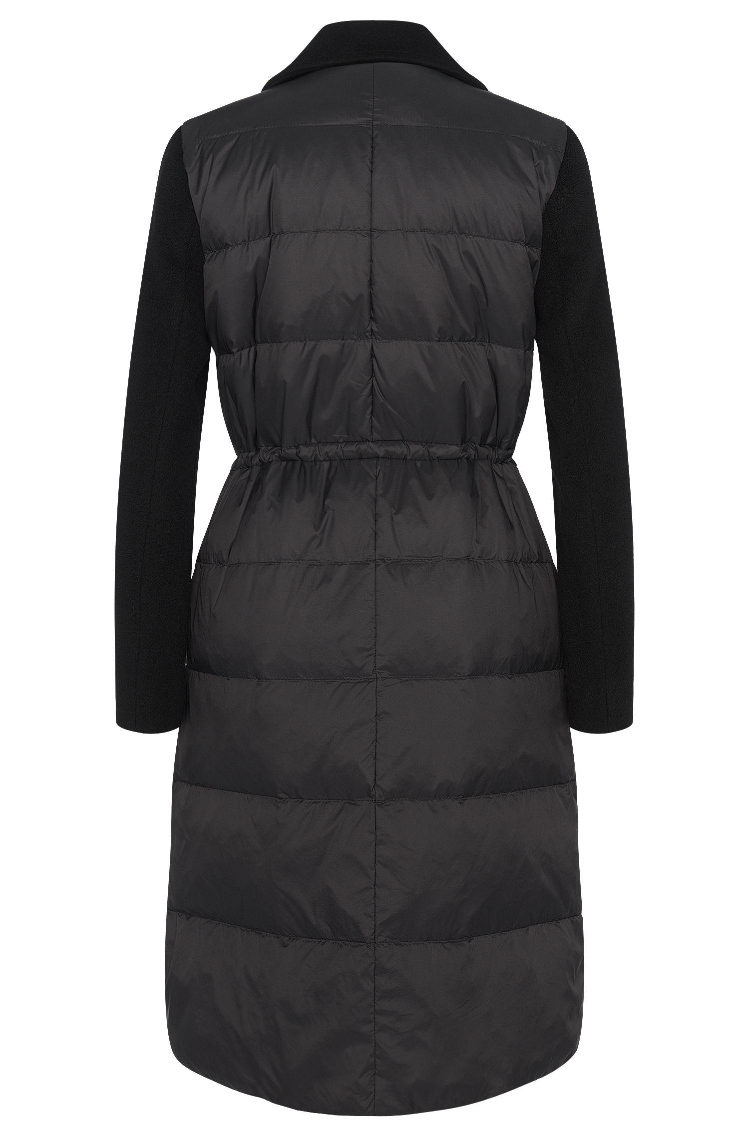 Manteau surpiqué en laine mélangée, garni de duvet: «Polea»