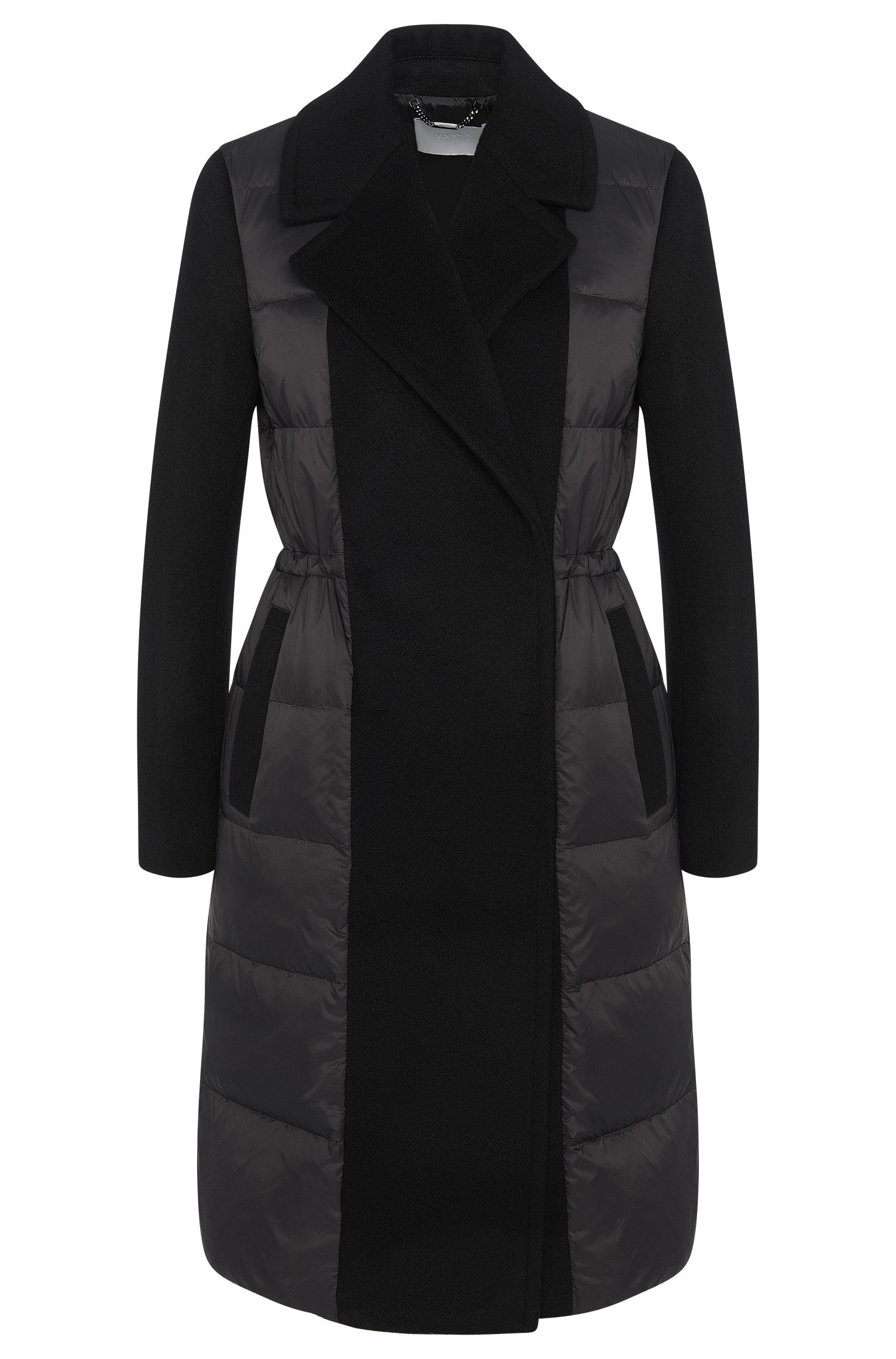 Quilted coat in a wool blend with down padding: 'Polea'