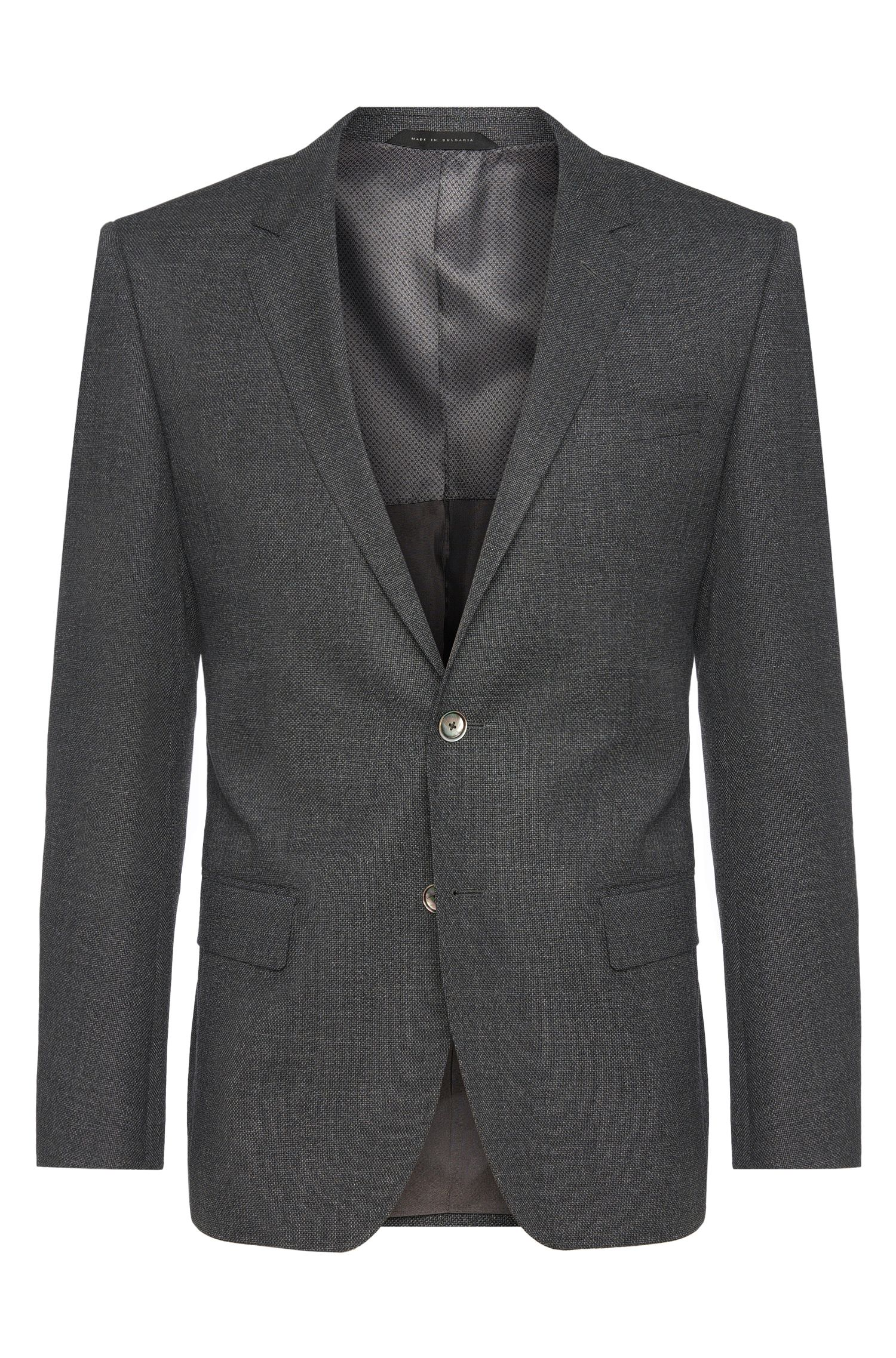 Slim-fit jacket in textured new wool with mother-of-pearl buttons: 'Hutson2'
