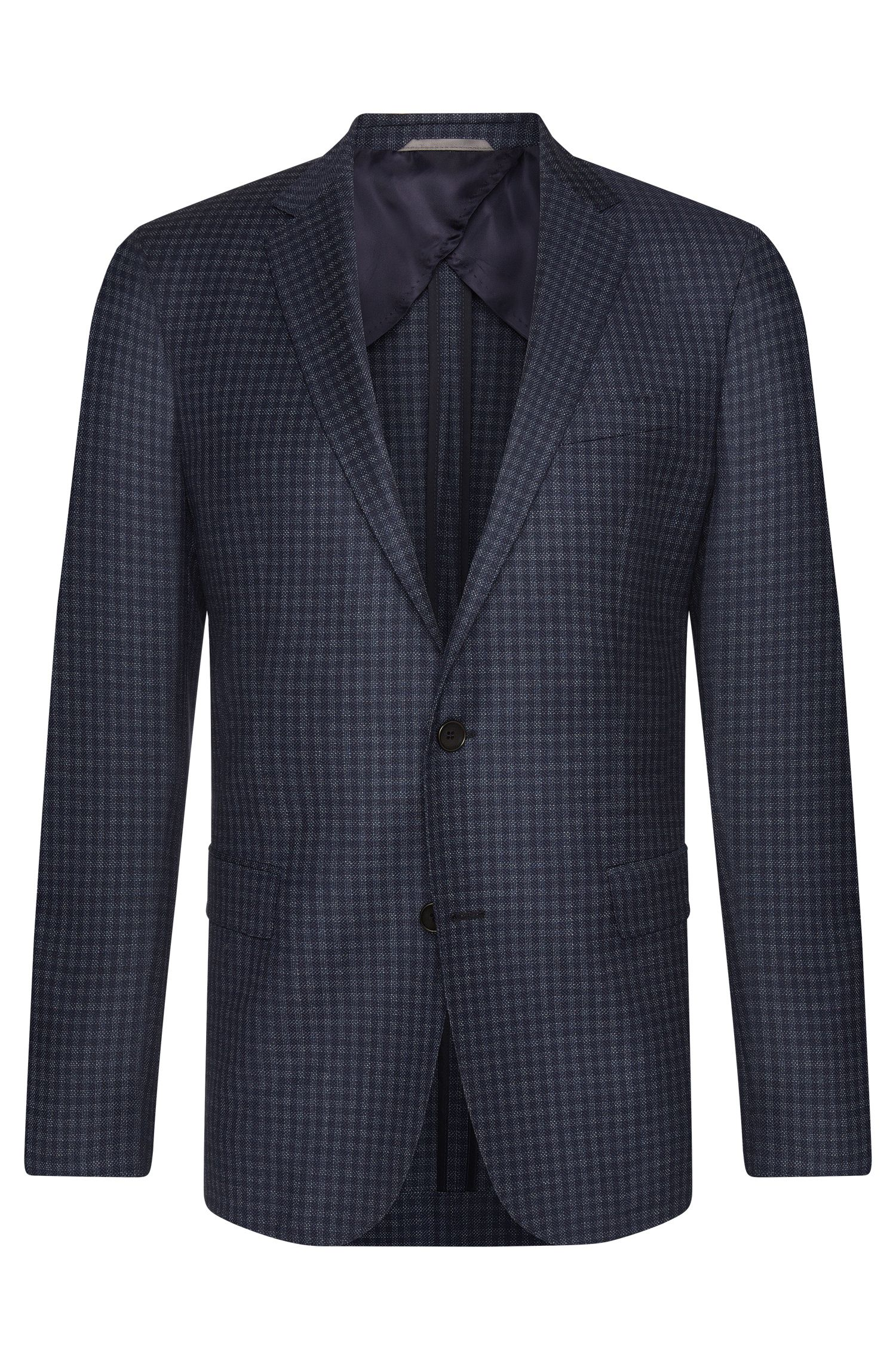 Checked slim-fit jacket in new wool with partial lining: 'Nobis1'