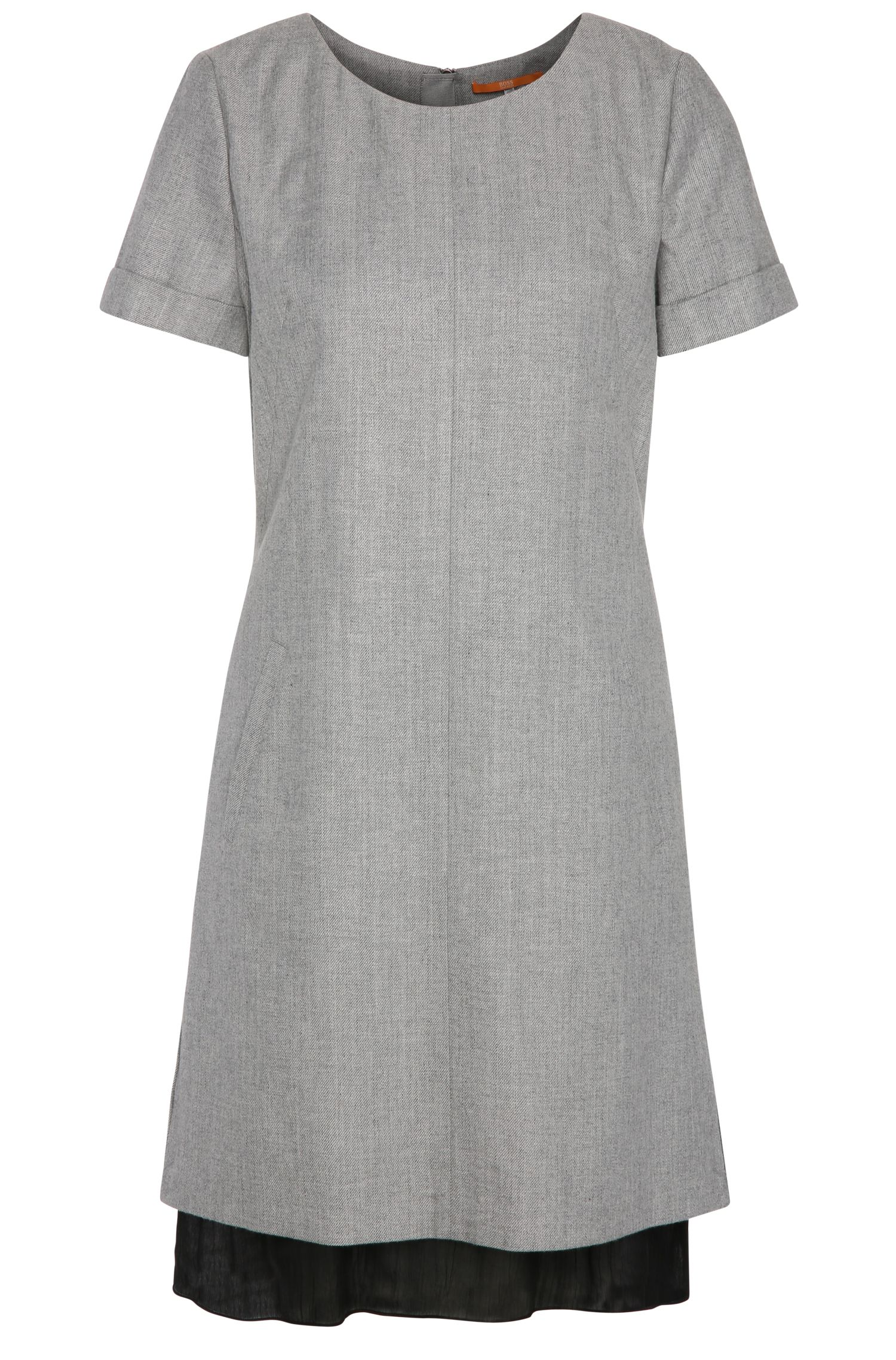 Regular-fit dress in cotton blend with new wool: 'Awooly'